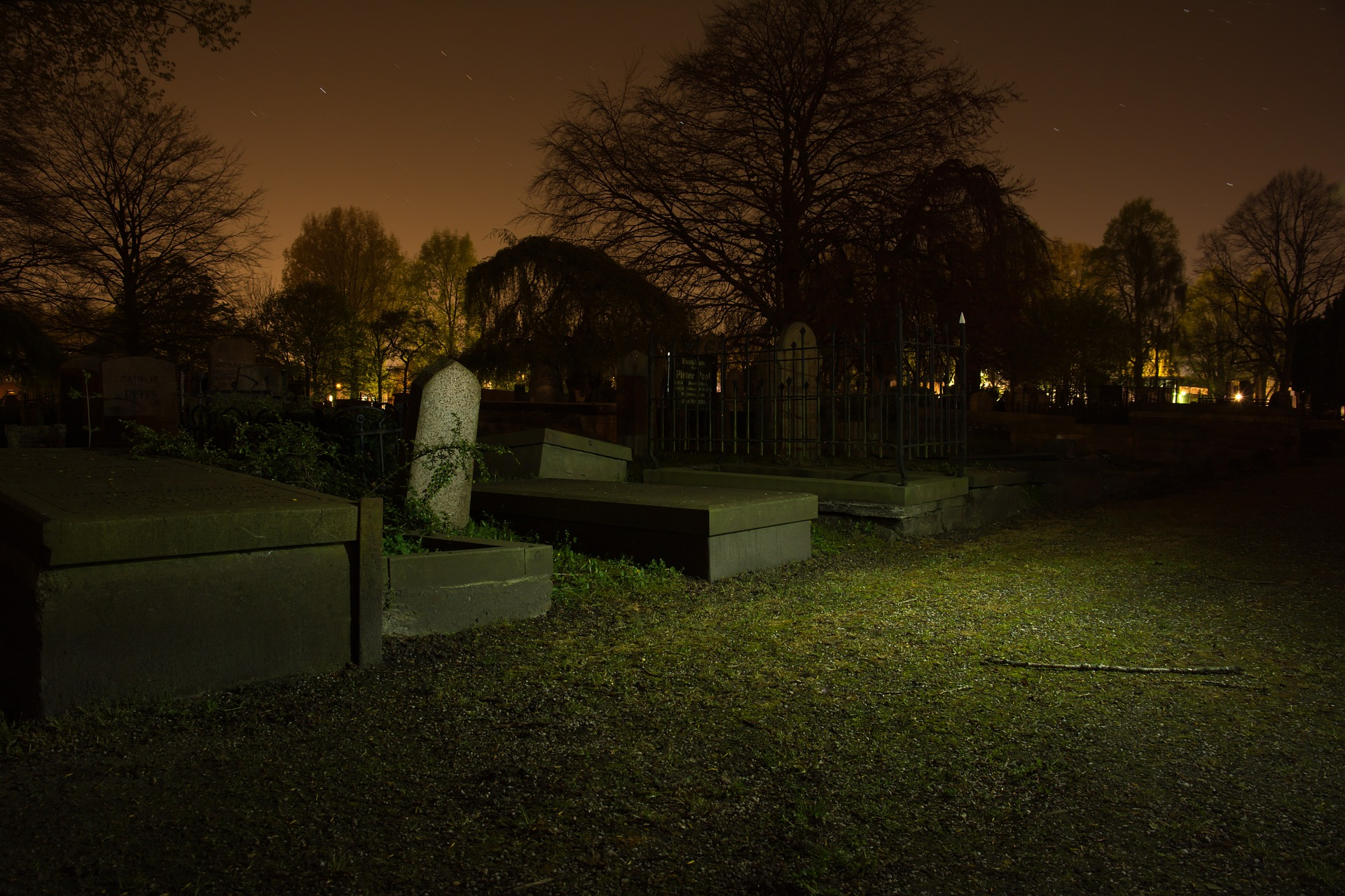 Graveyard in the city photo