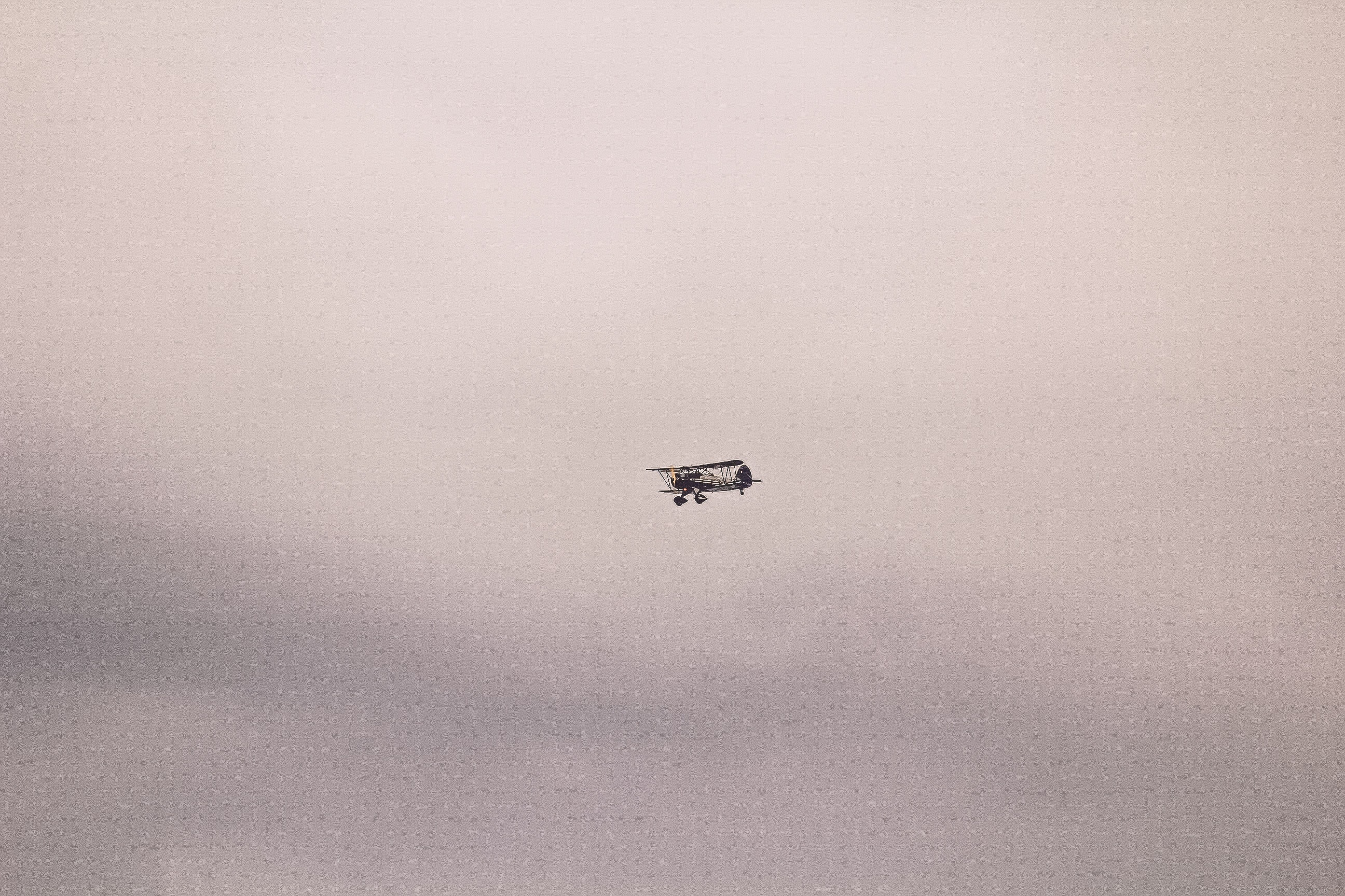 Gray and Black Biplane, Aeroplane, Flying, Transportation system, Technology, HQ Photo