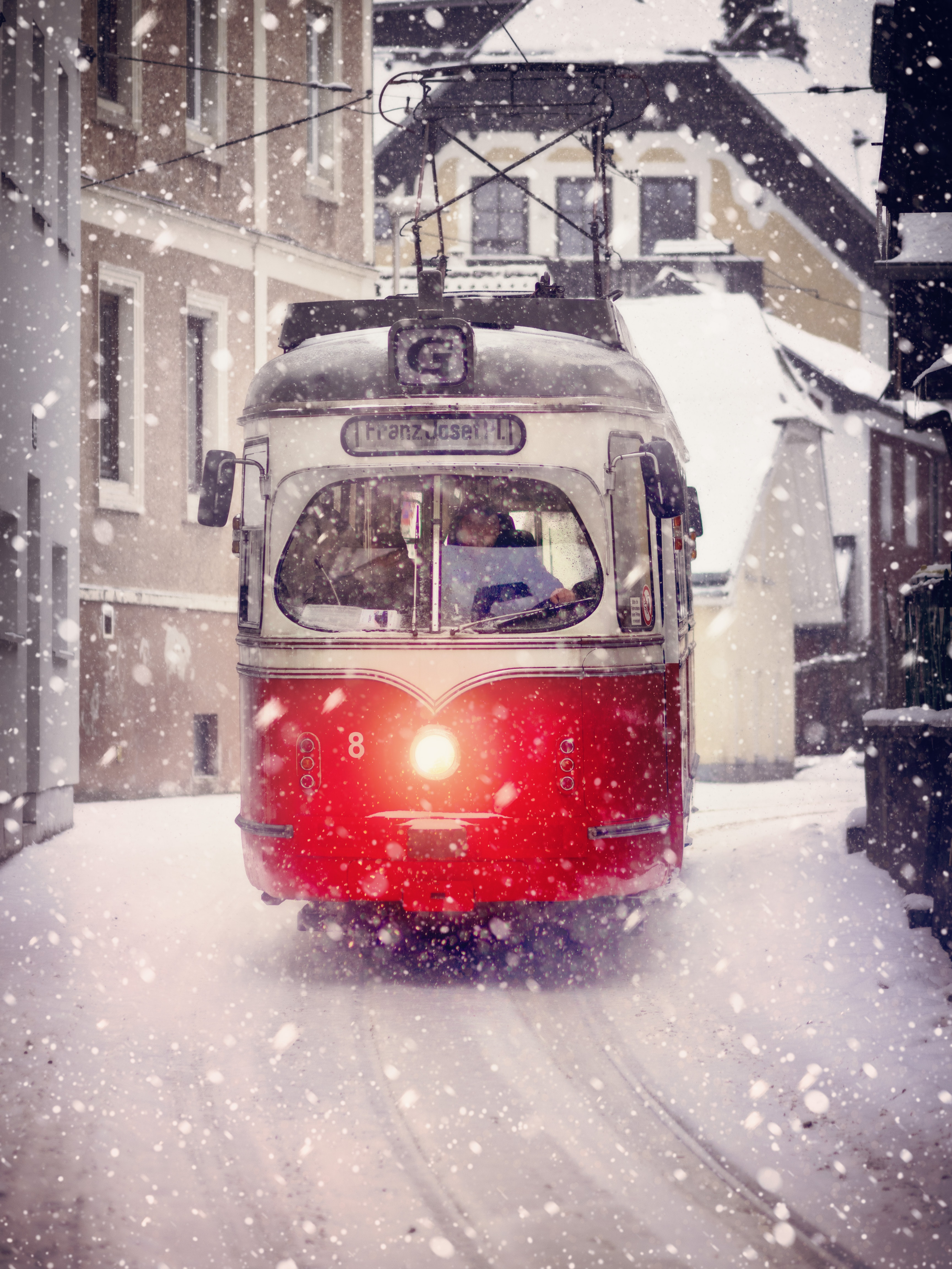 Gray and Red Rail Train, Red, Winter, Vehicles, Urban, HQ Photo
