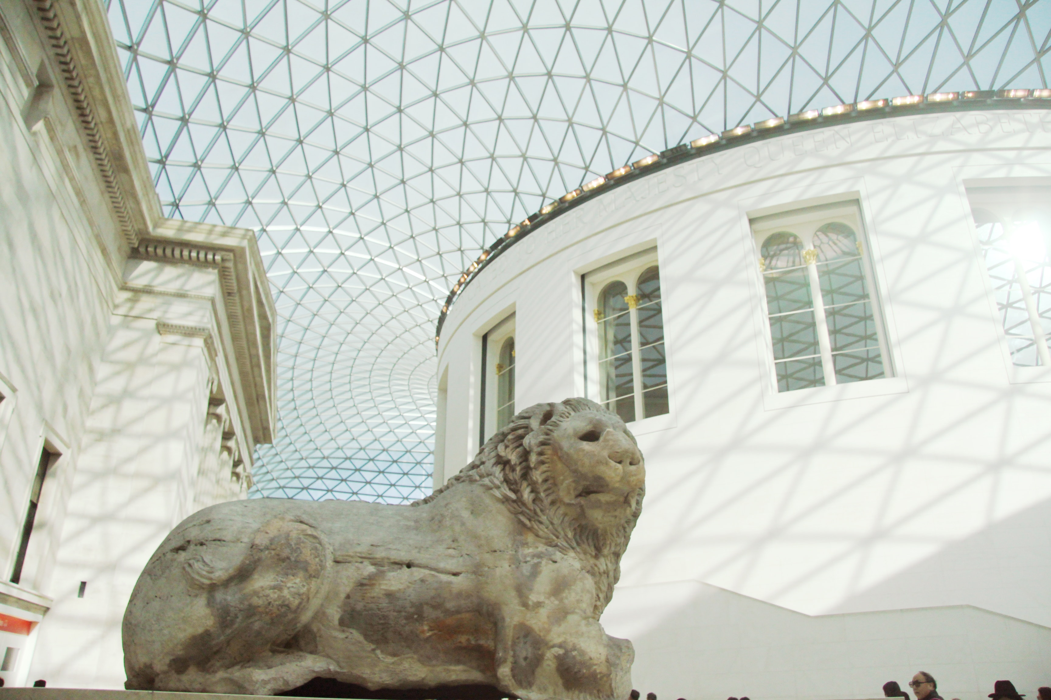 Gray animal statue inside building photo