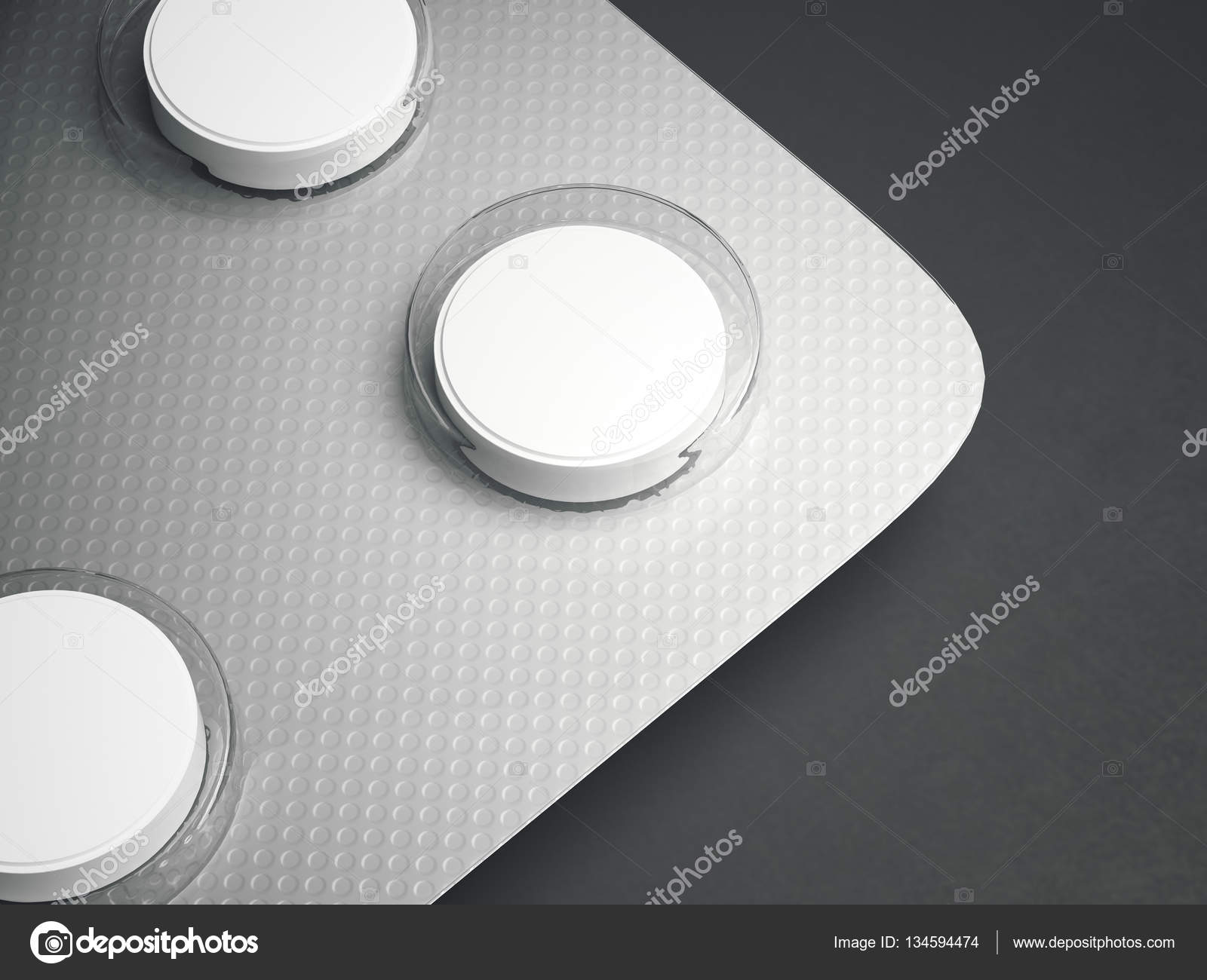Blister pack of tablets on a gray background. 3d rendering — Stock ...