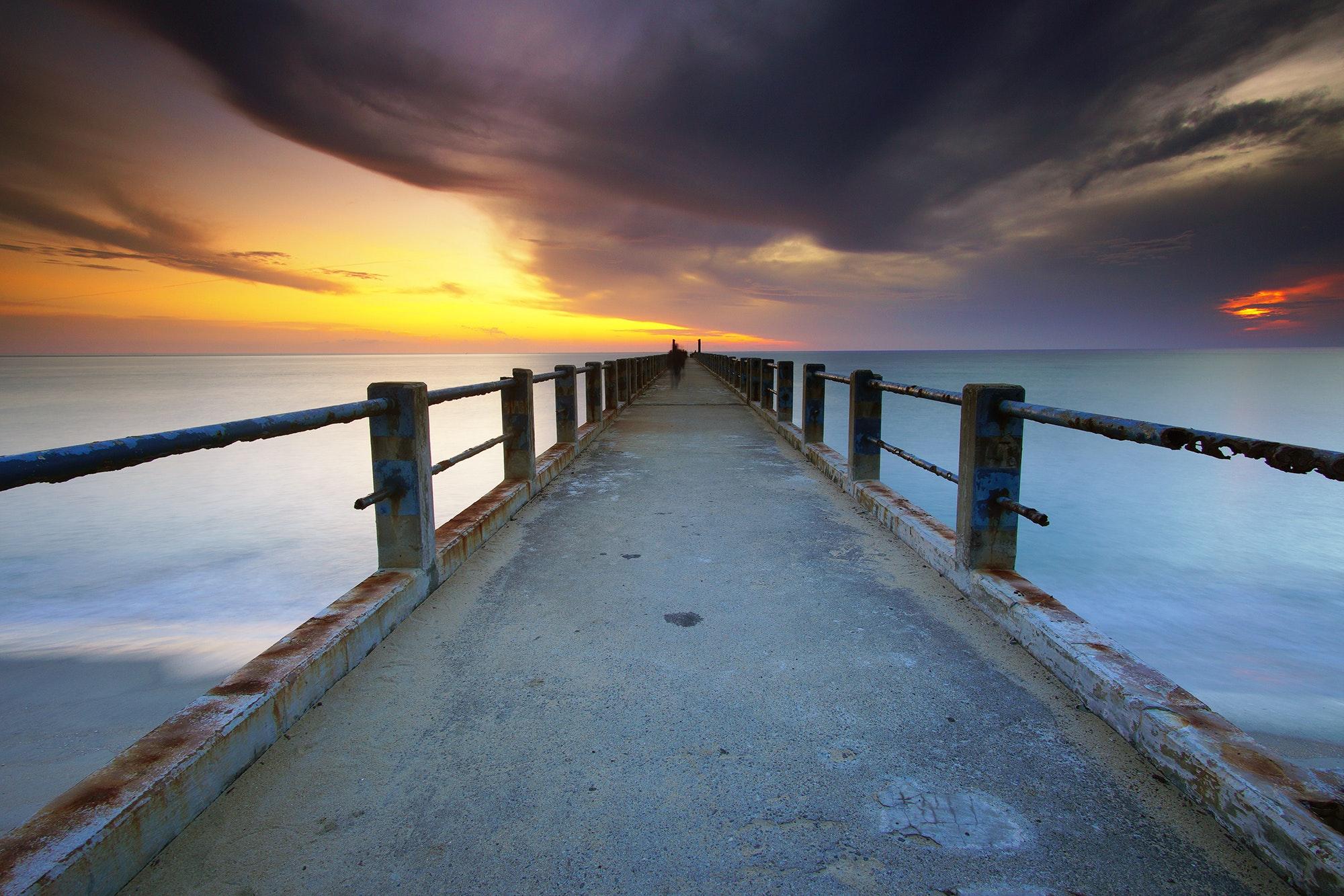 Gray Bridge Near White Water, Beach, Ocean, Sunset, Sunrise, HQ Photo