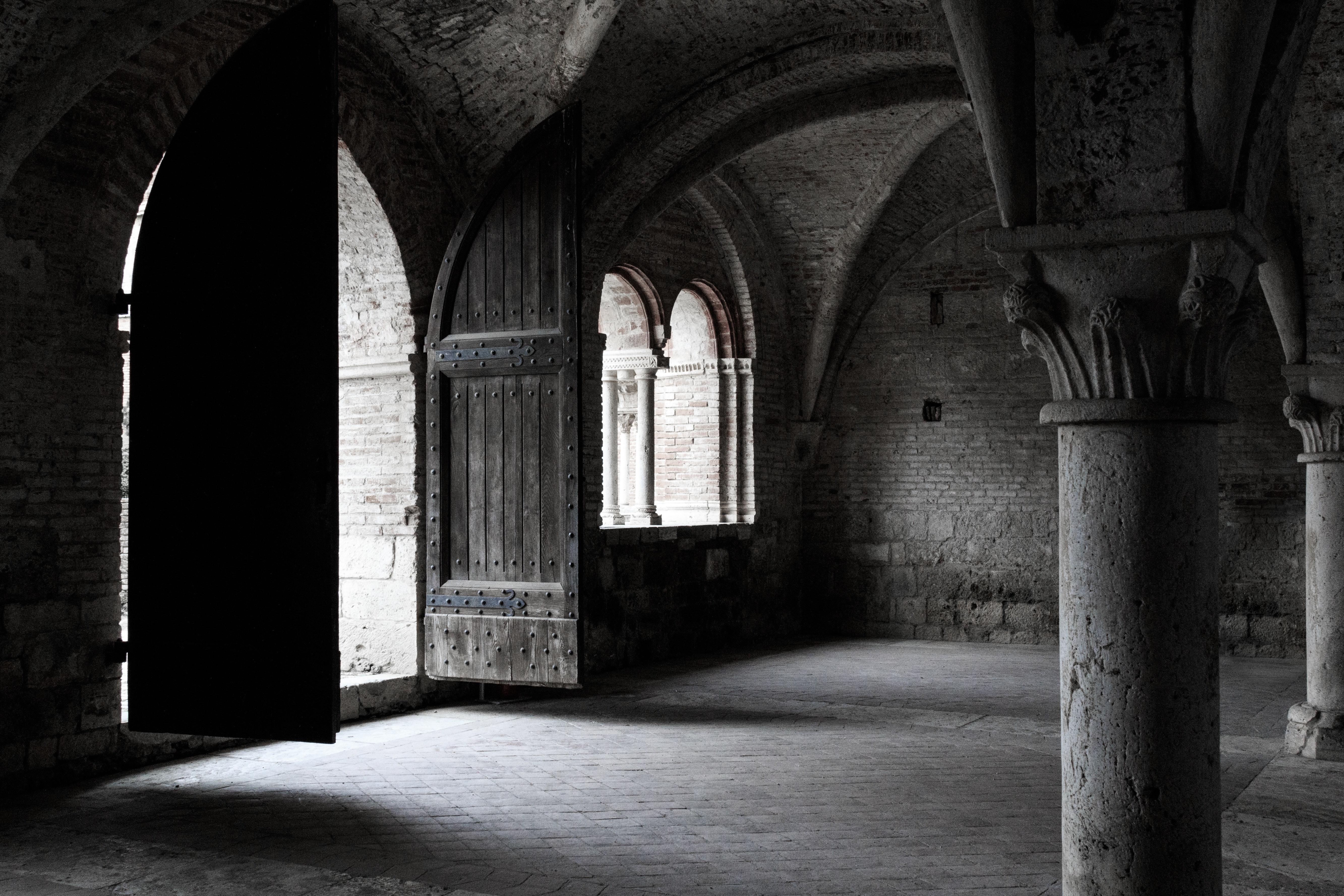 Gray concrete column inside vintage building photo