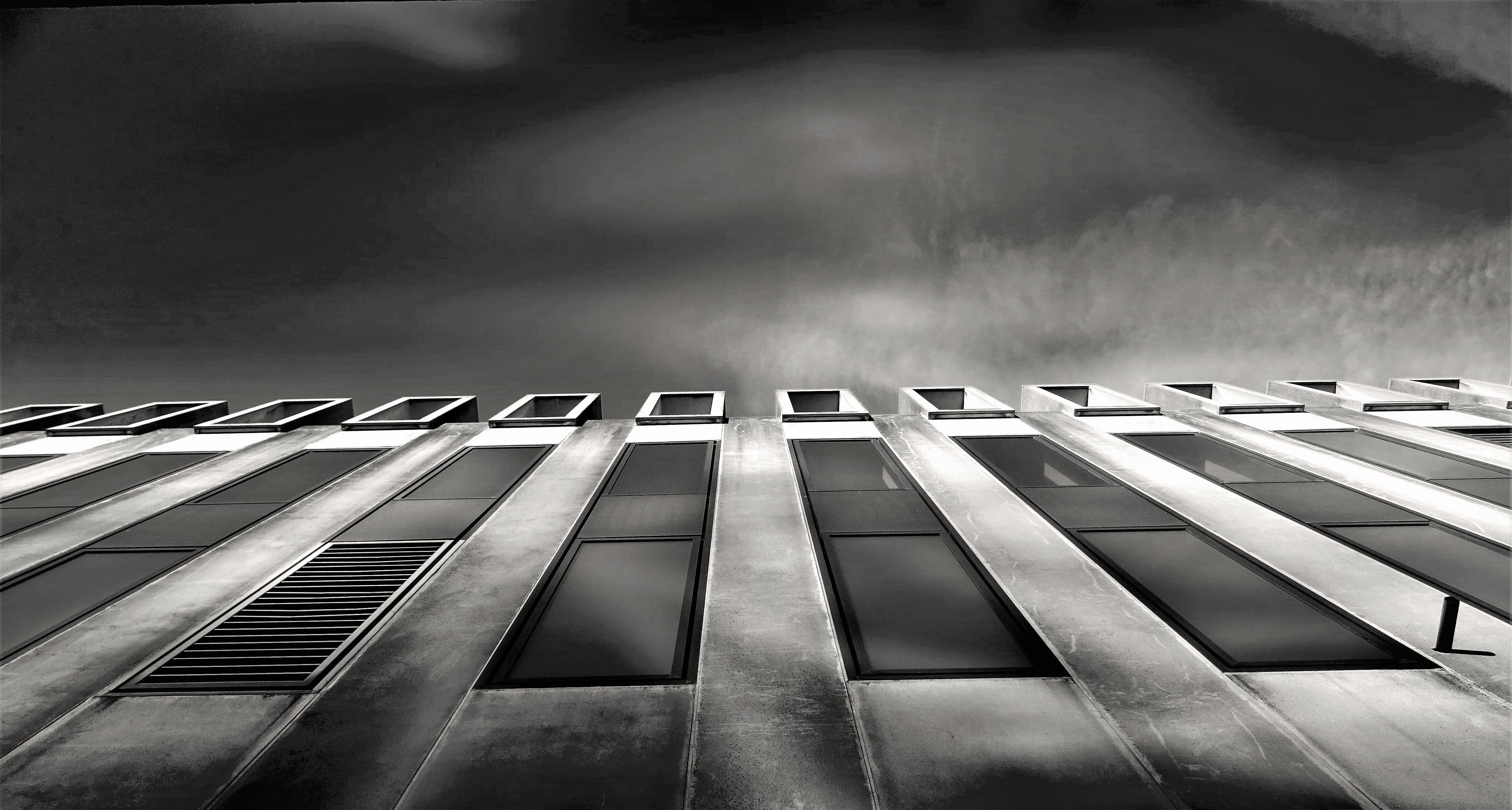 Gray Concrete Structure, Architecture, Black and white, Black-and-white, Building, HQ Photo