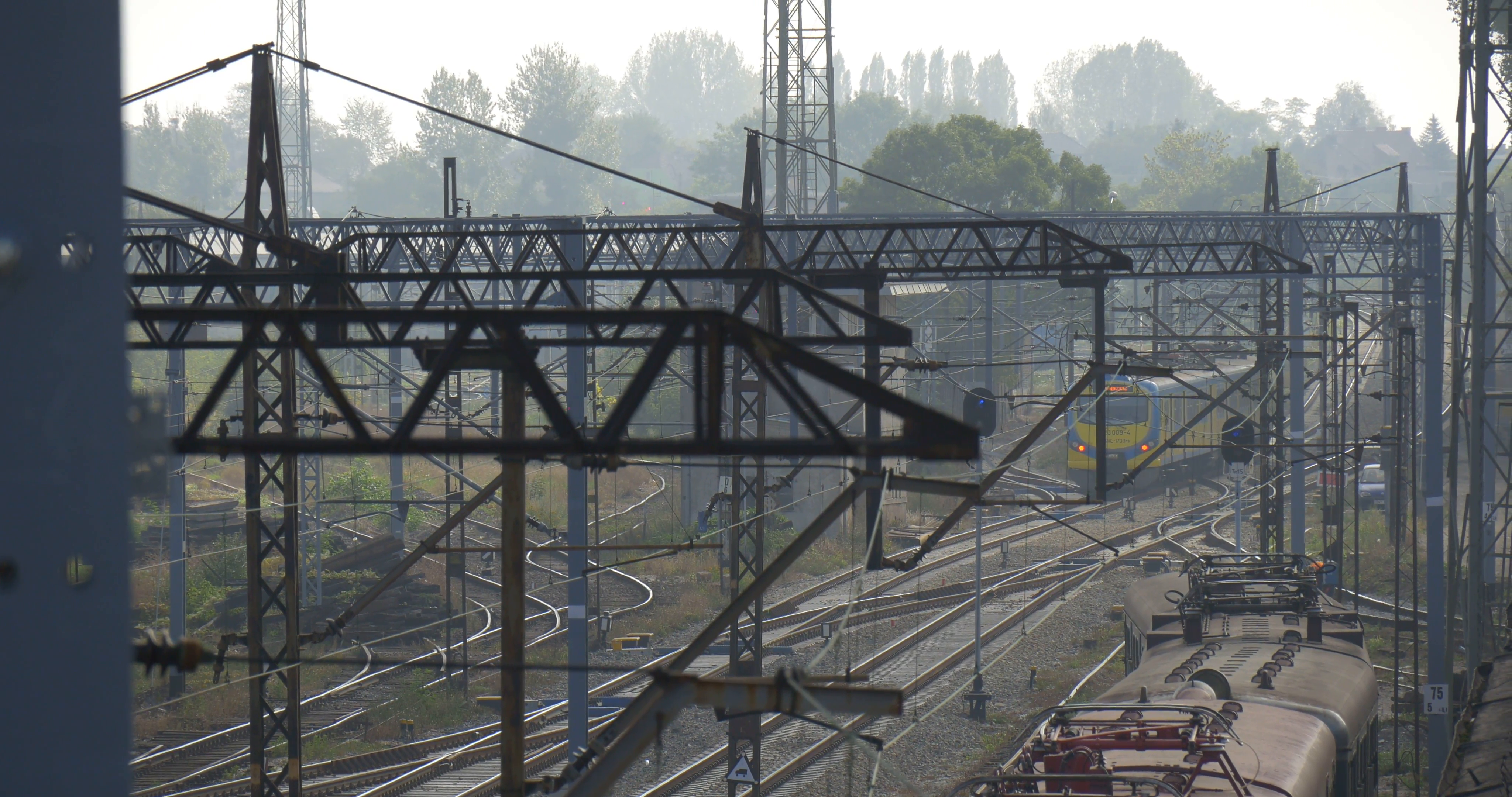 Supports And Lines Of The Railroad Contact Network Railway Tracks ...