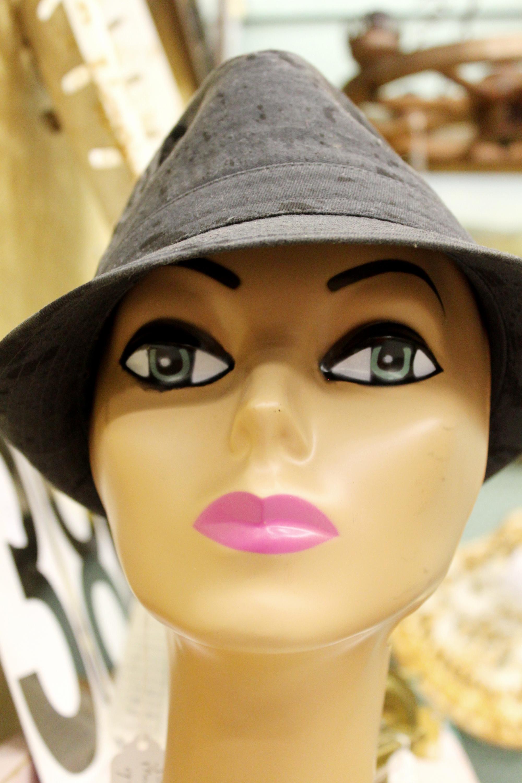 Gray hat, Black, Mannequin, White, Vintage, HQ Photo