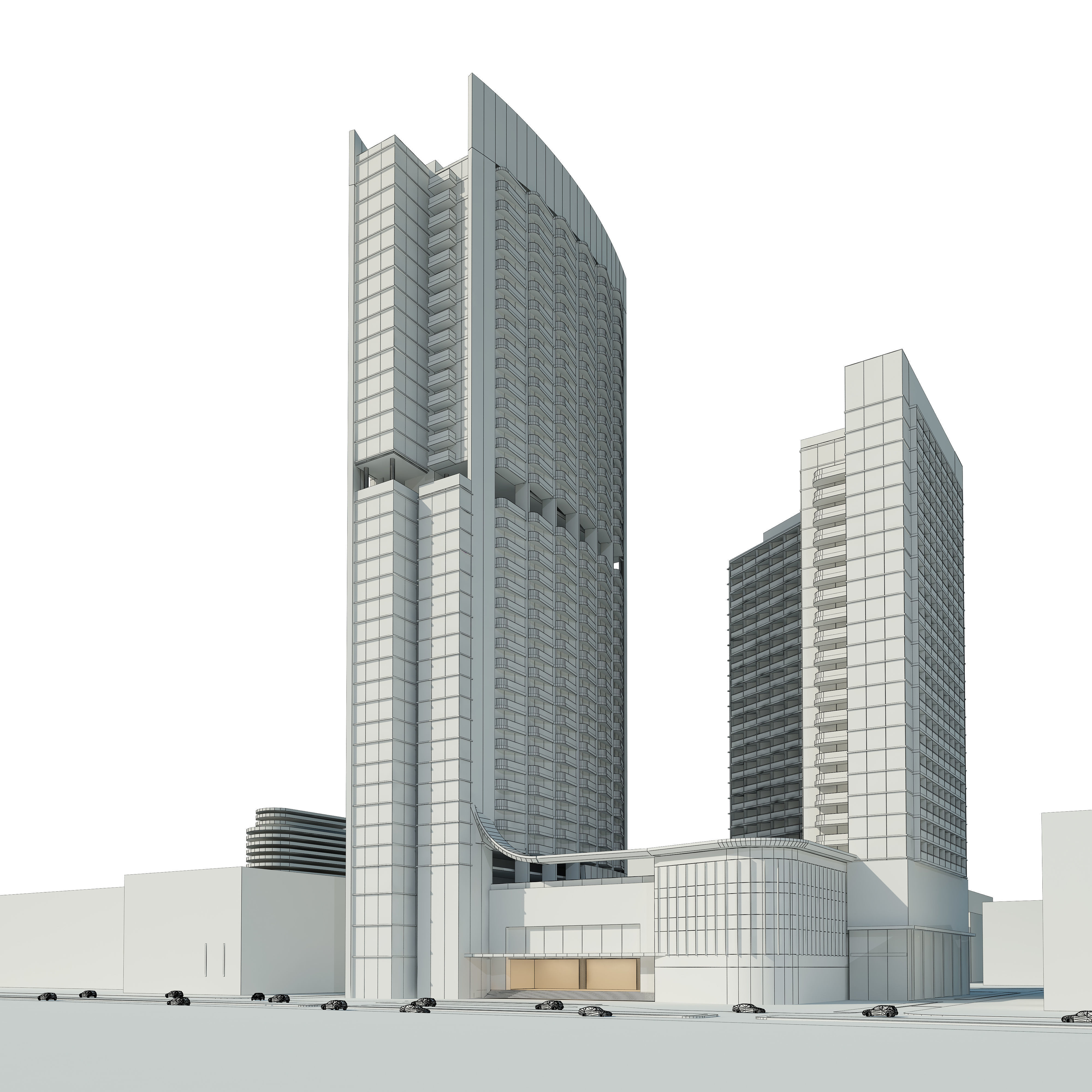 3D model Detailed high rise building complex | CGTrader