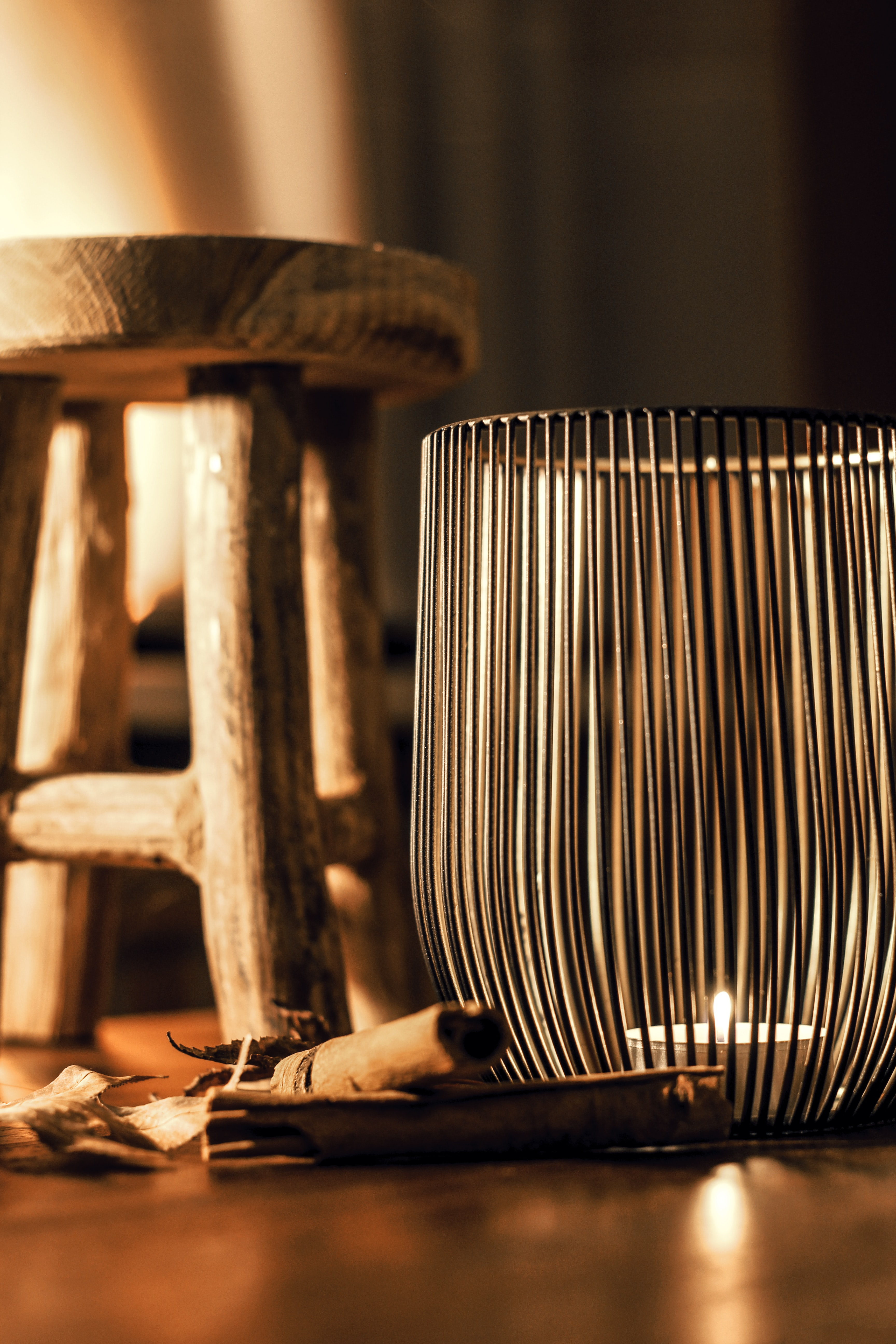 Gray metal candle holder photo