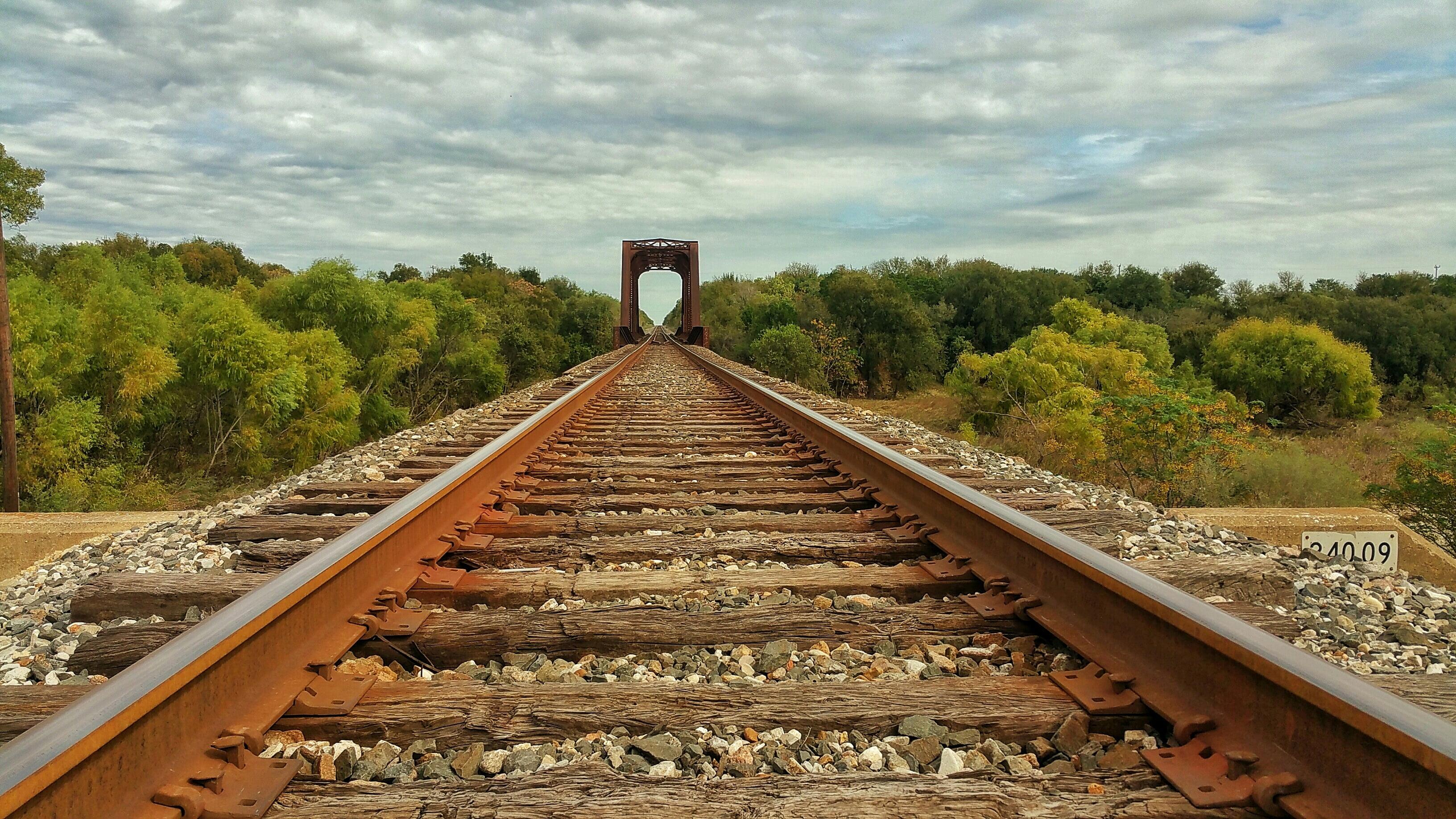 Rusty gray metal train rails close up photo HD wallpaper | Wallpaper ...