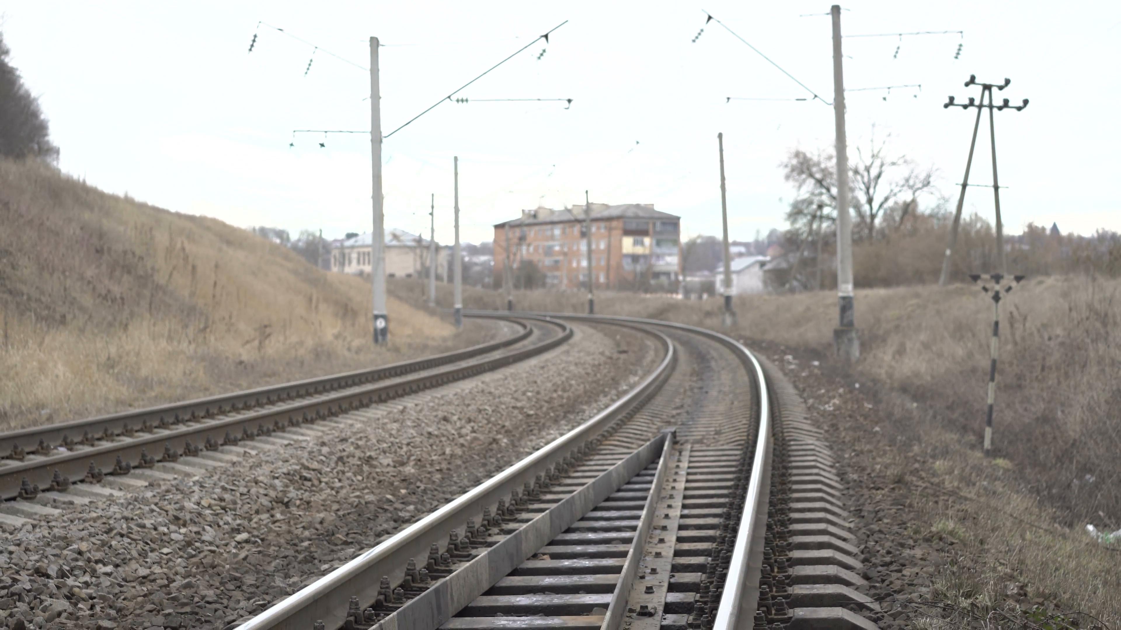 Train metal railway, isolators in the Ukrainian village 4K Stock ...