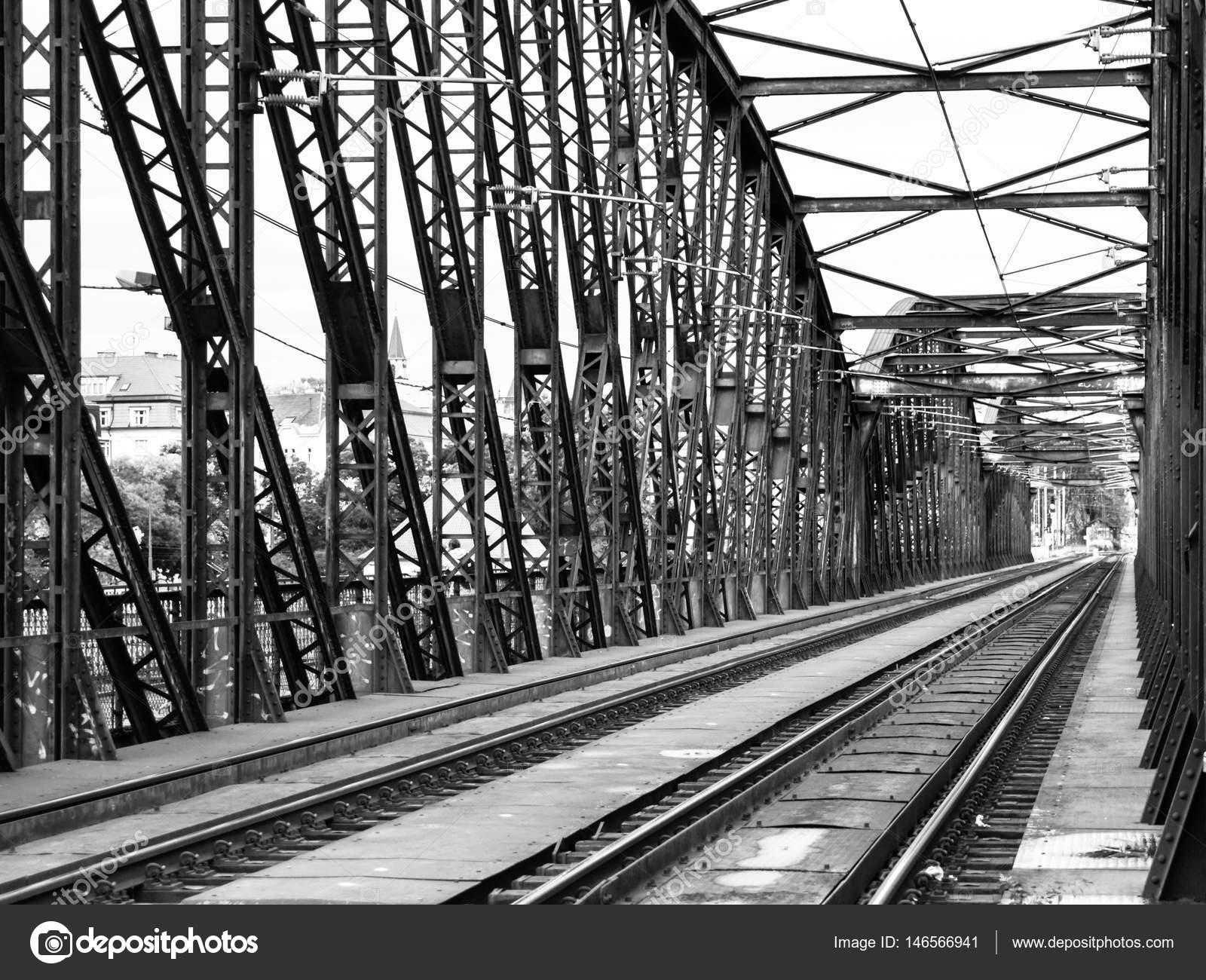 Old metal Railway bridge in Vyton, Prague, Czech Republic. Black and ...