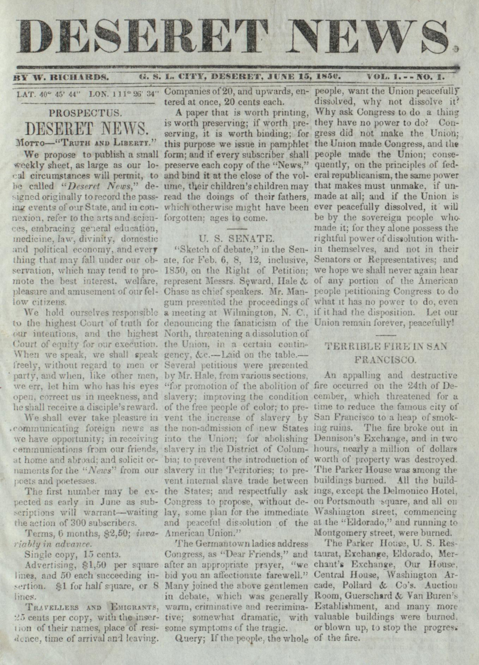 File:Deseret News - first issue - 15 June 1850.jpg - Wikimedia Commons