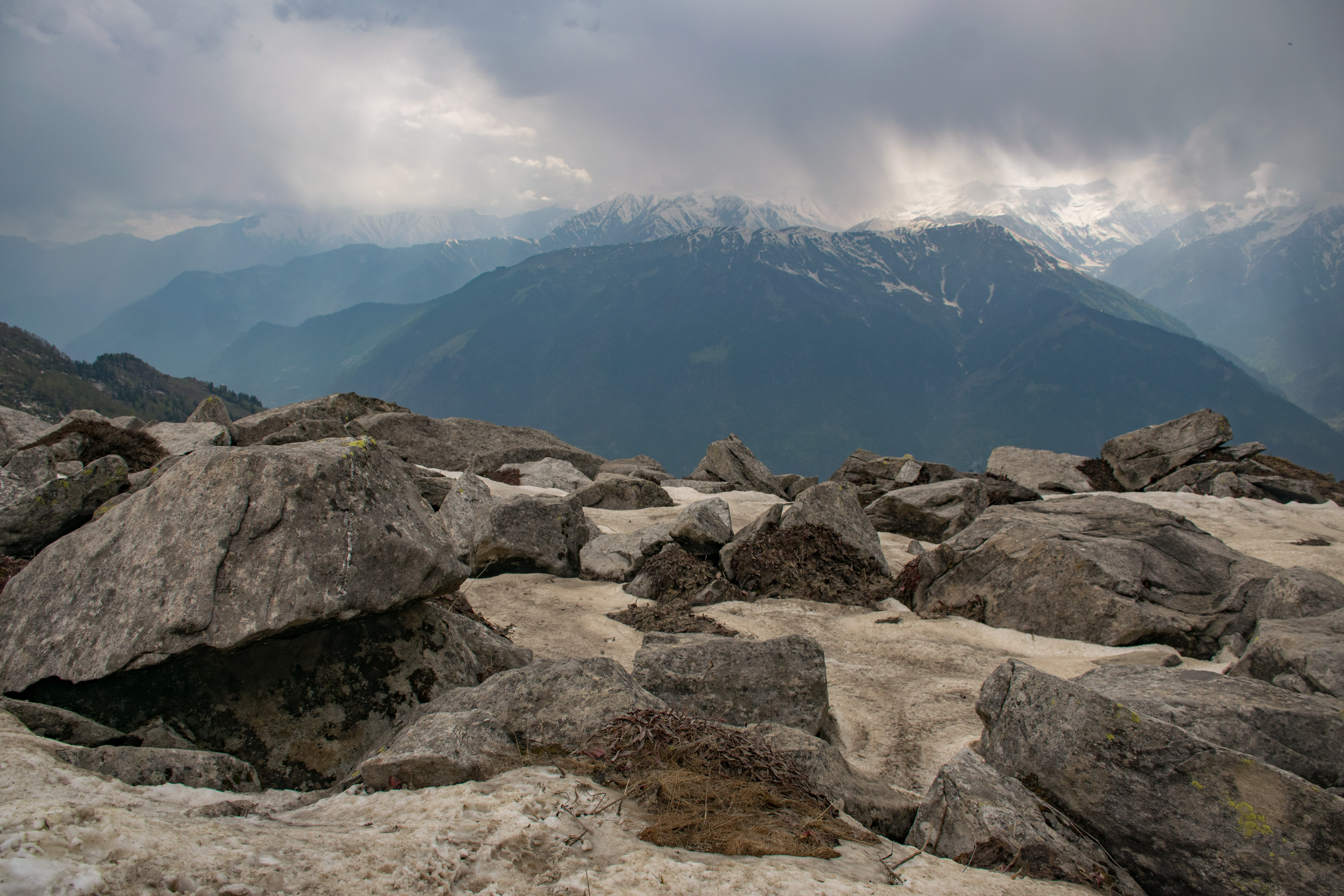 Gray Rocks in Front of Mountain, Clouds, Snow, Sky, Scenic, HQ Photo