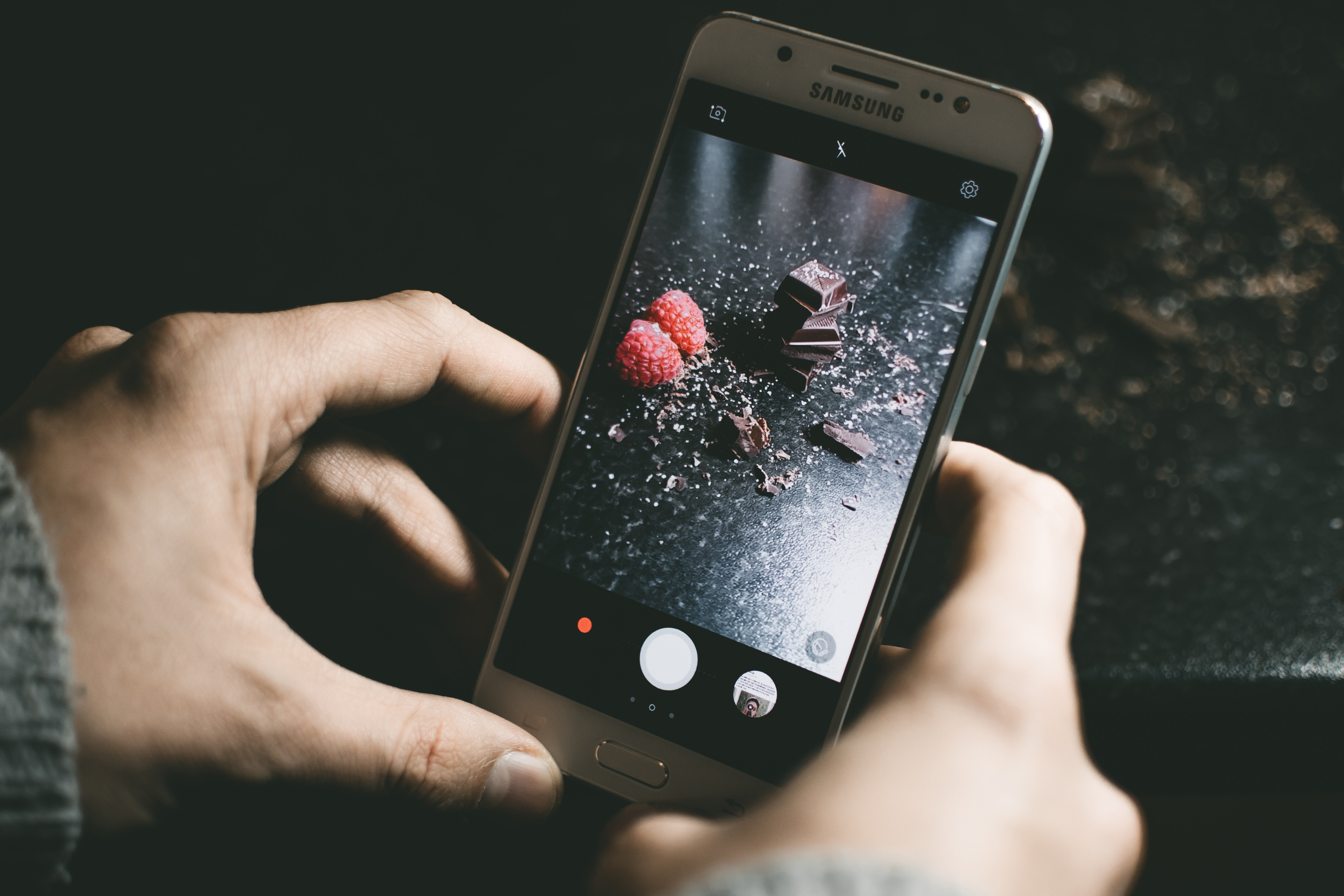 Gray Samsung Smartphone Showing Chocolates, Blur, Photo, Touch, Telephone, HQ Photo