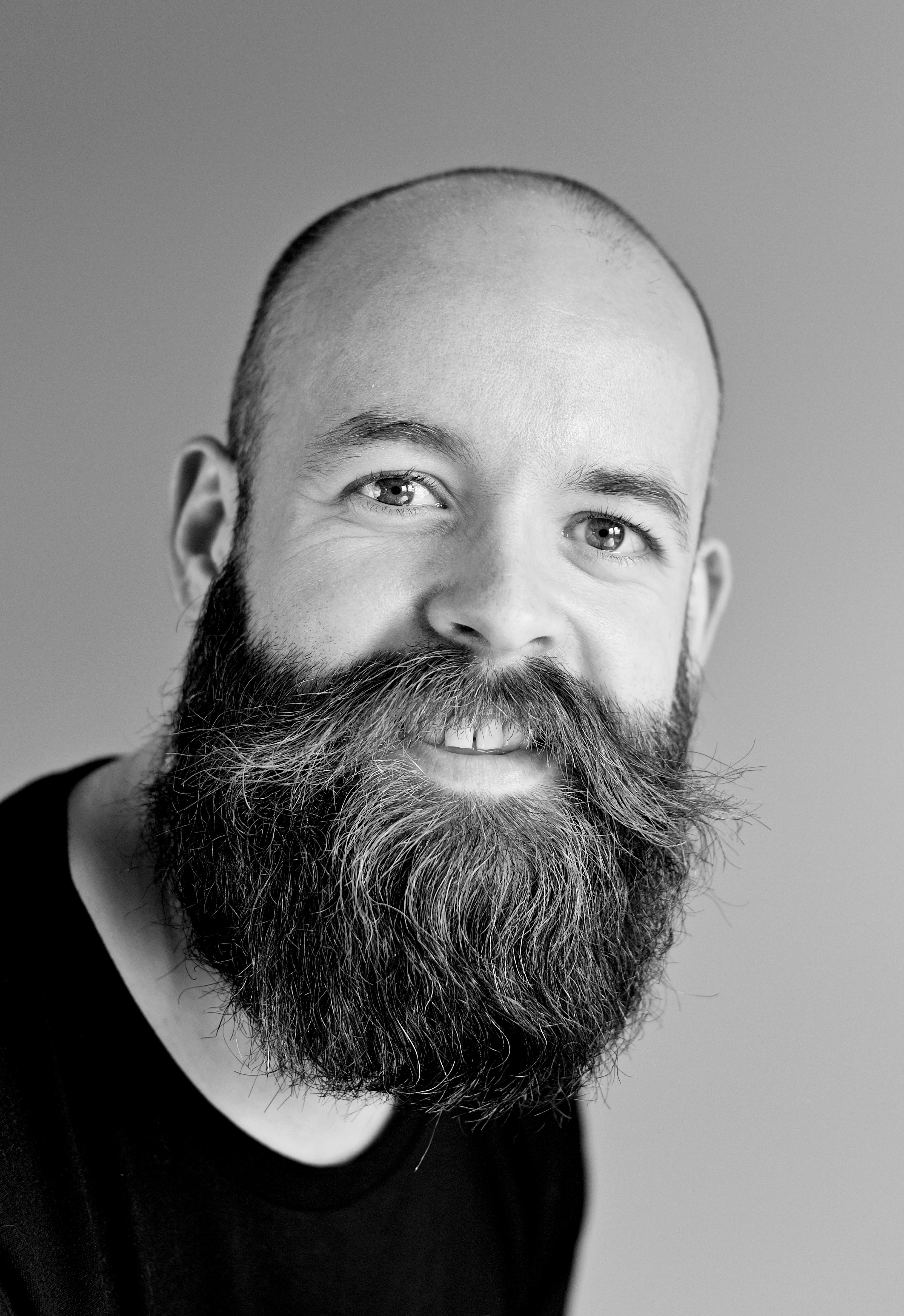 Gray Scale Bearded Man, Beard, Hair, Studio, Photoshoot, HQ Photo