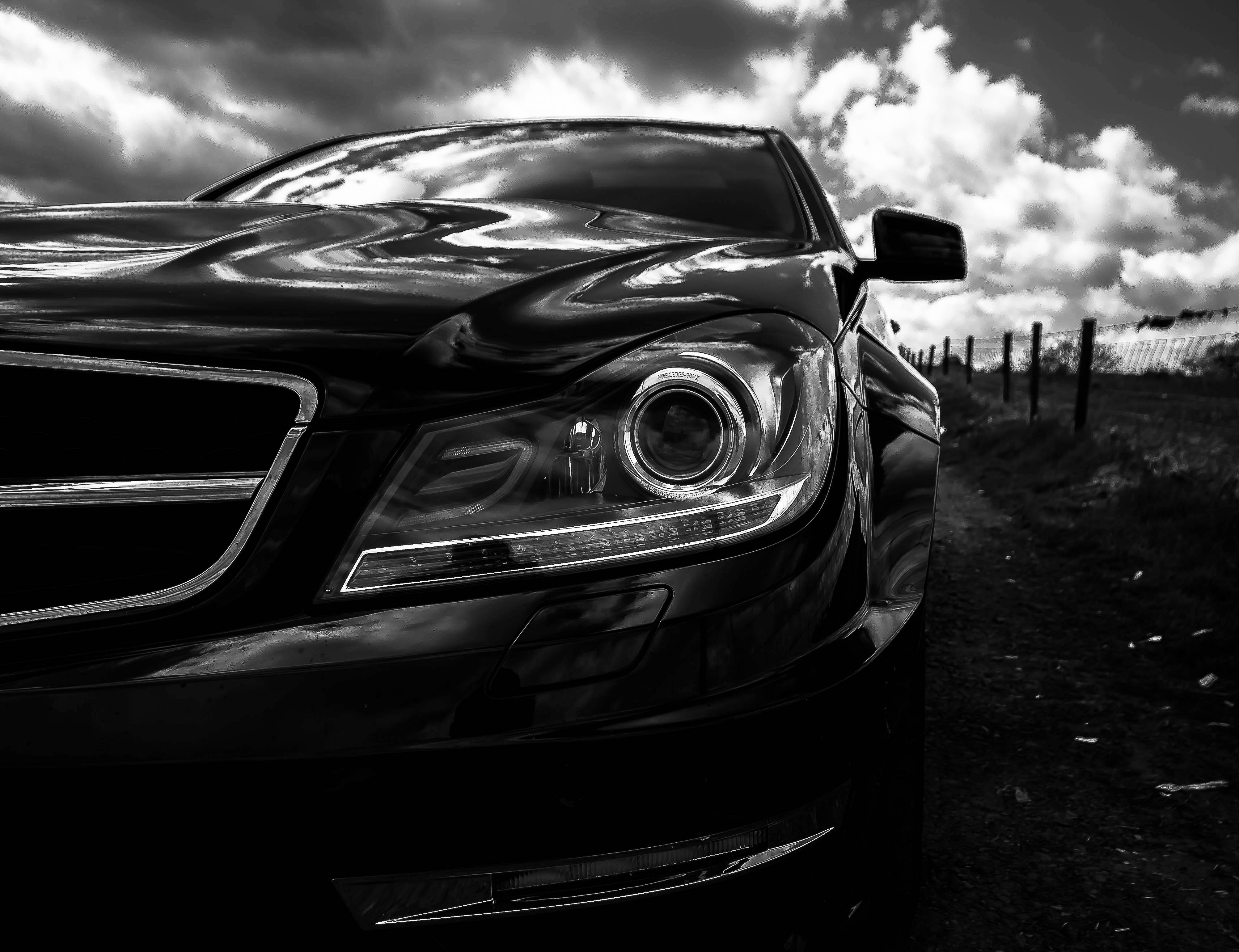 Gray Scale Photo of Car on Side of the Road, Auto, Hood, Vehicle, Transportation system, HQ Photo