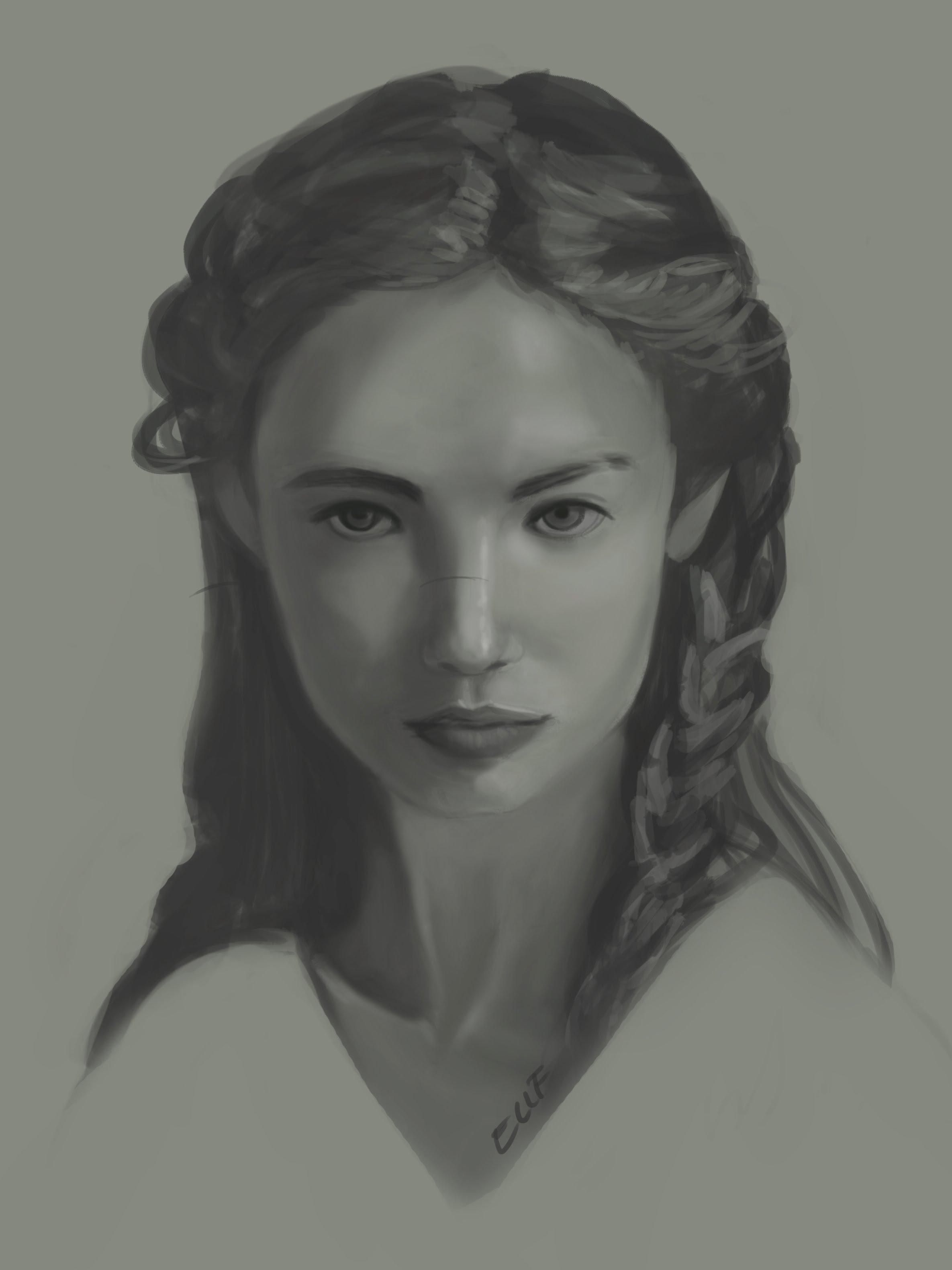 Speedpaint Portrait - Grayscale - YouTube