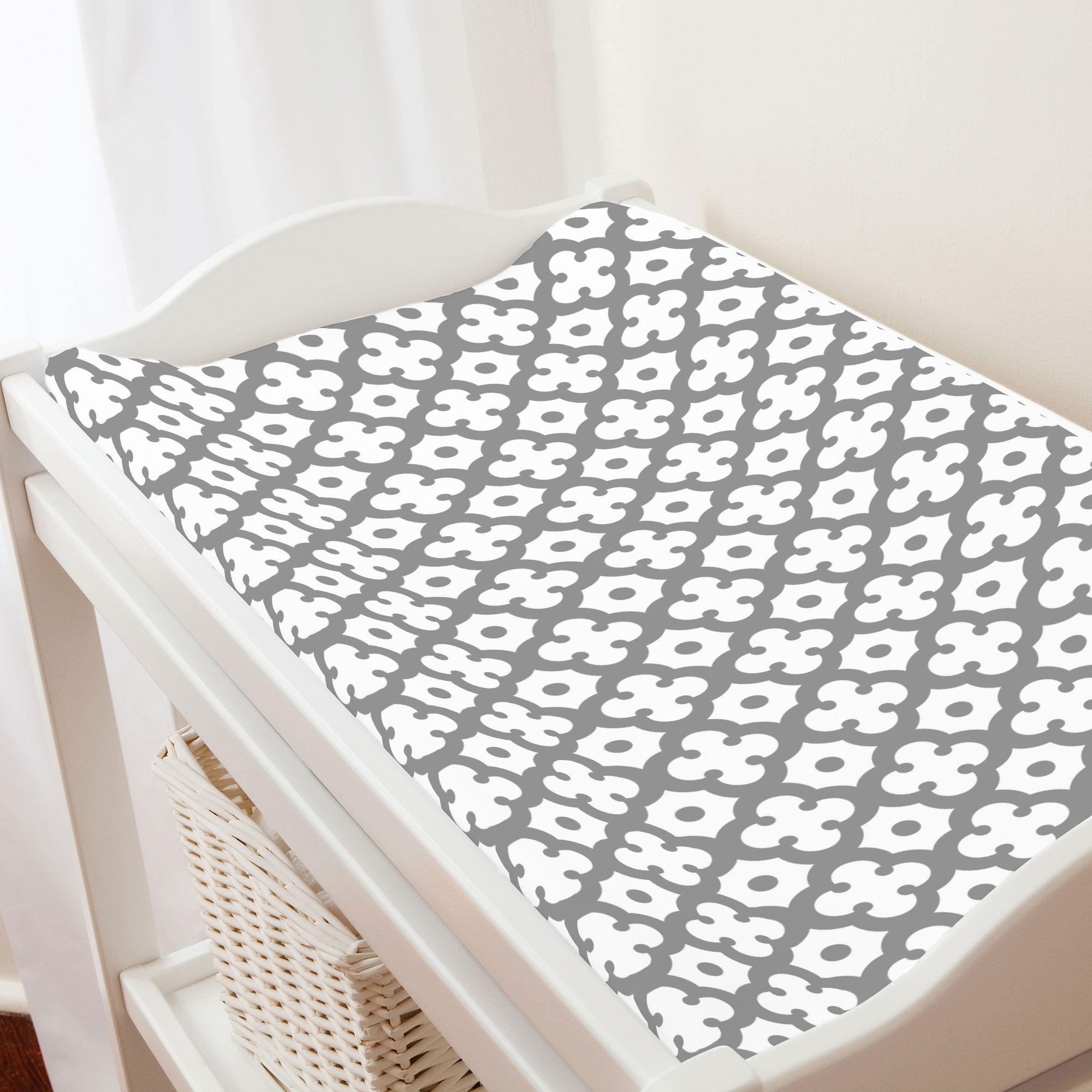 Cloud Gray Moroccan Tile Changing Pad Cover | Carousel Designs