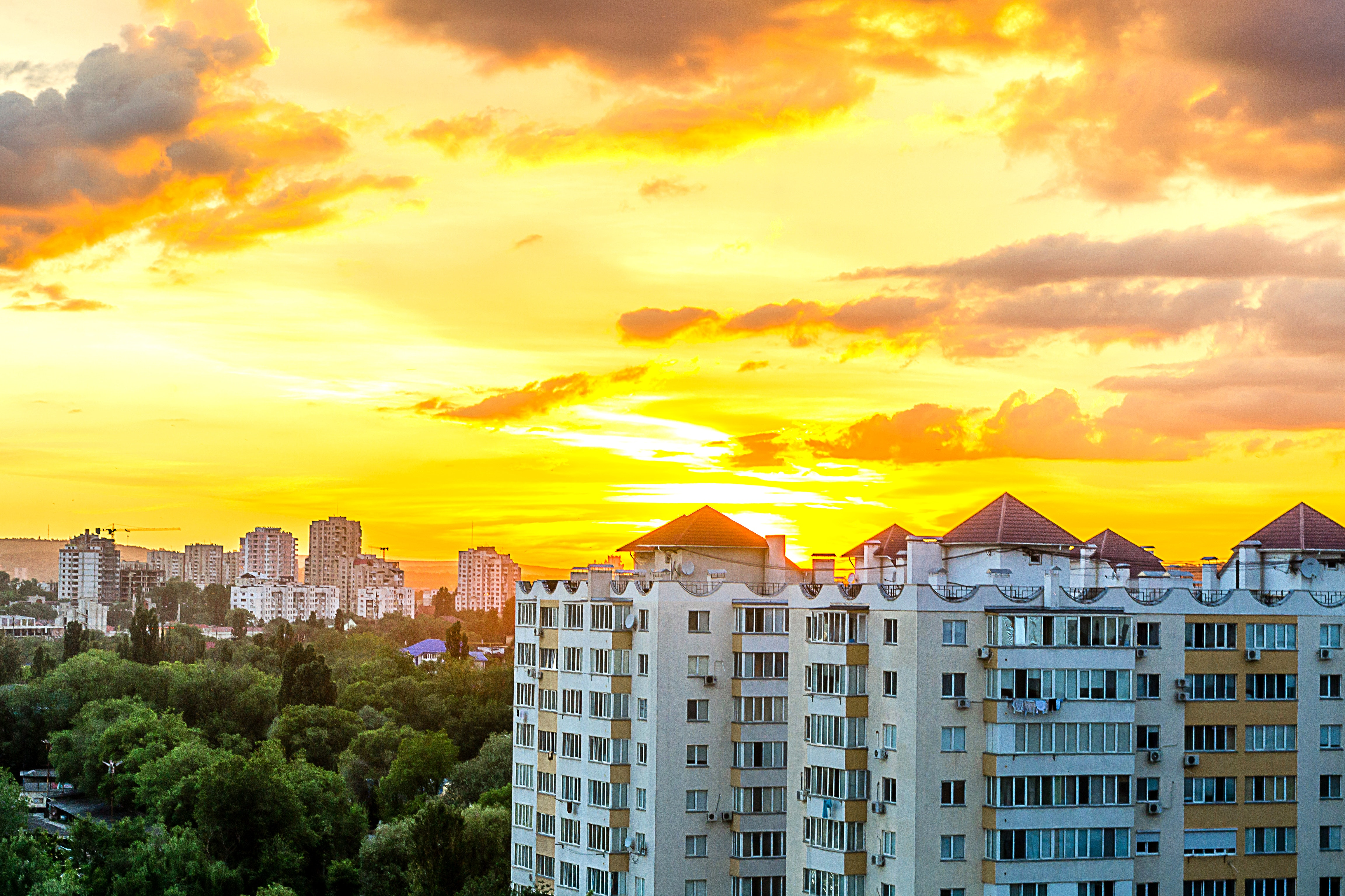 Gray White High Rise Building during Sun Set, Apartment, Outdoors, Urban, Trees, HQ Photo