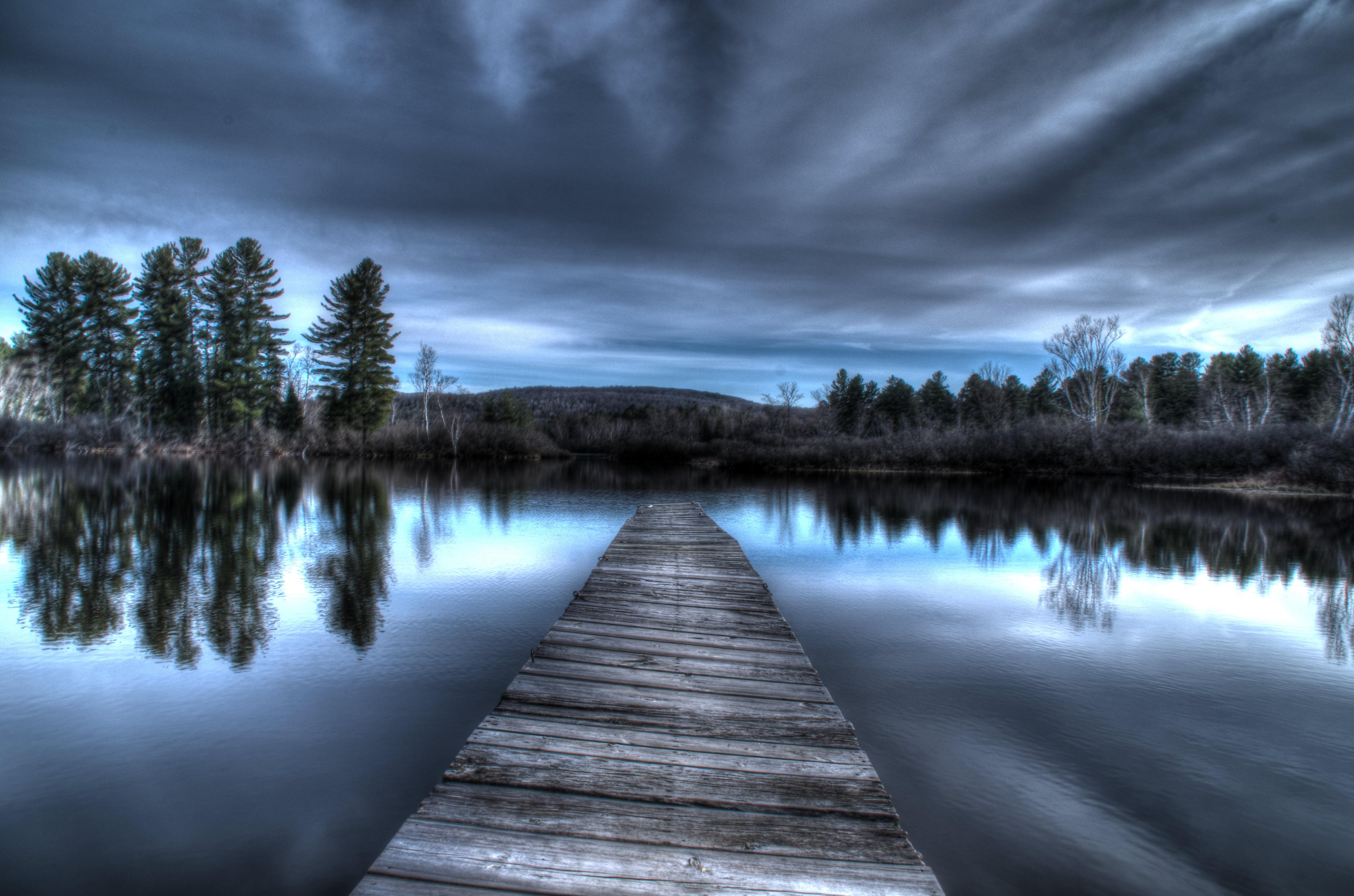 Black and gray wooden bridge near body of water HD wallpaper ...
