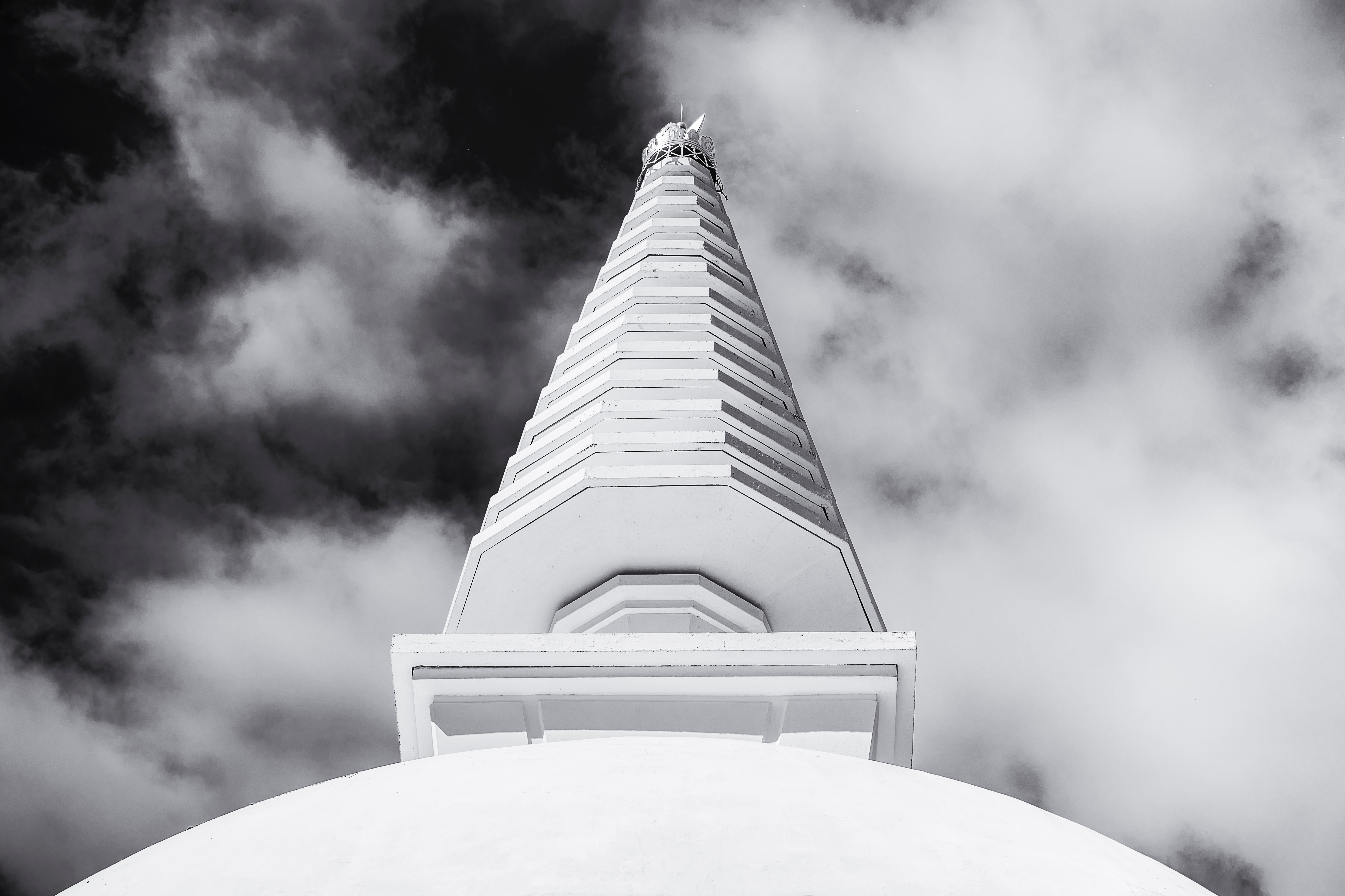 Grayscale Photo of Building, Architecture, Black and white, Building, Clouds, HQ Photo
