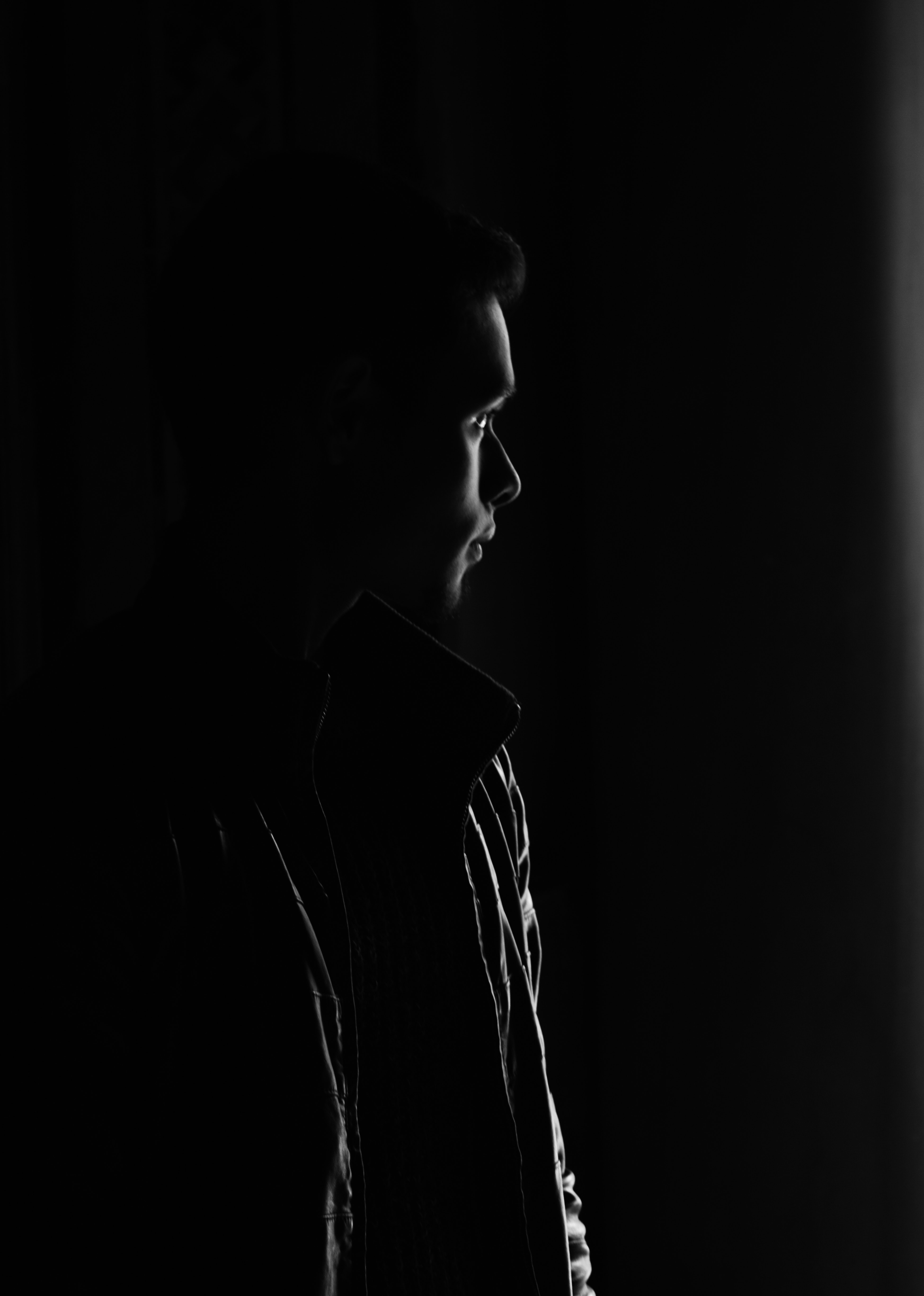 Grayscale Photo of Man, Black, Person, Studio, Silhouette, HQ Photo
