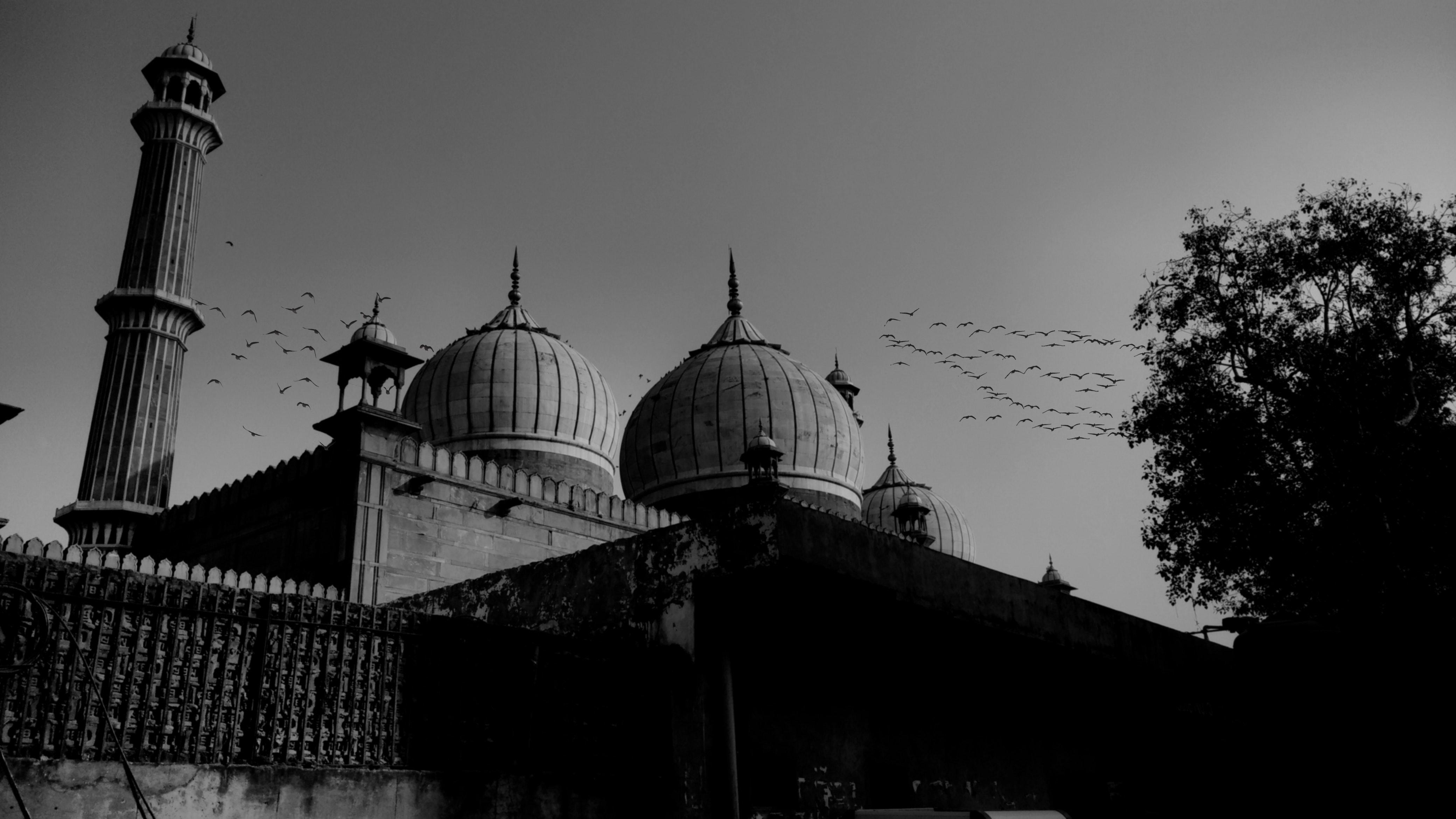 Grayscale Photo of Mosque, Architecture, Minaret, Tower, Tourism, HQ Photo