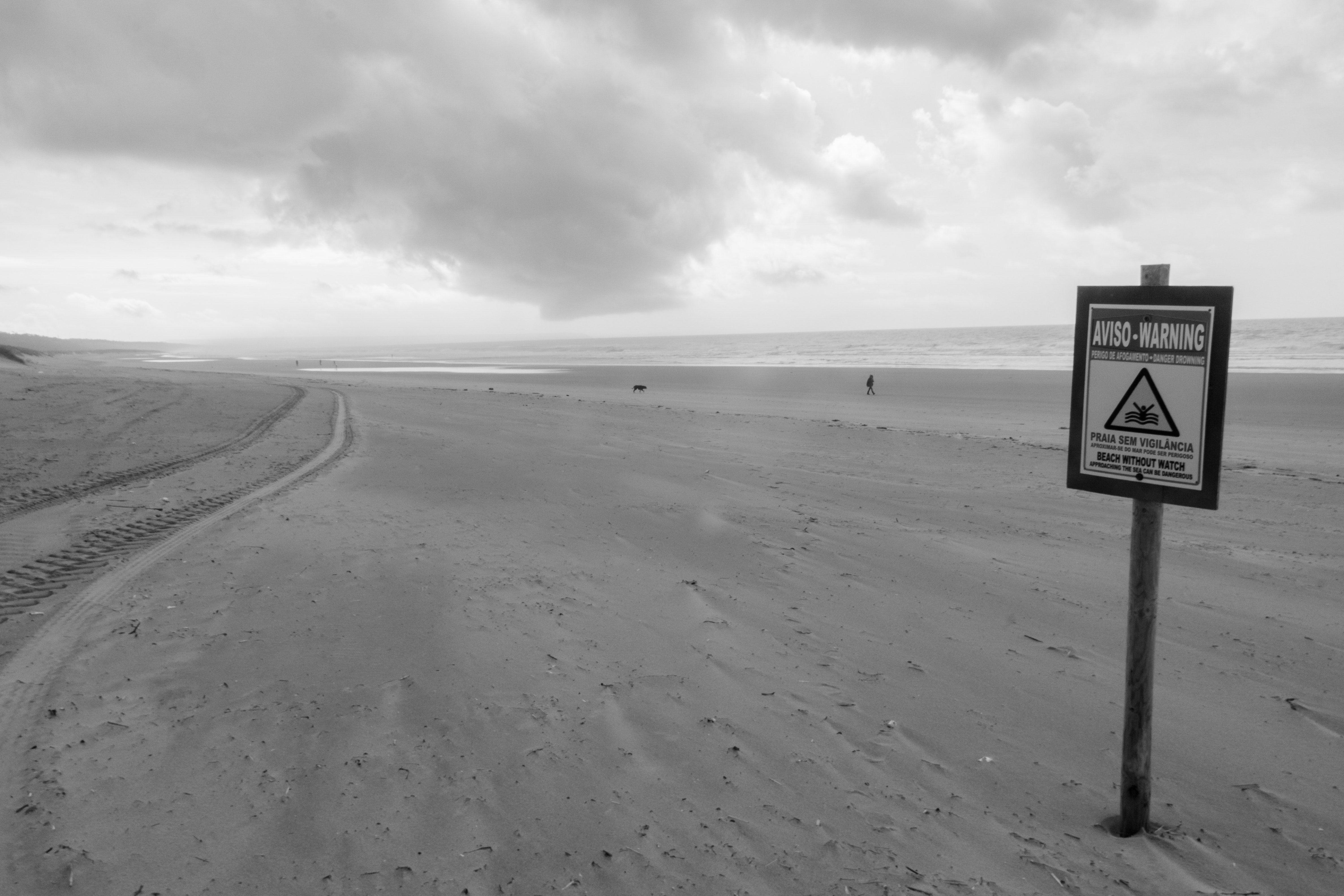 Grayscale photo of sand