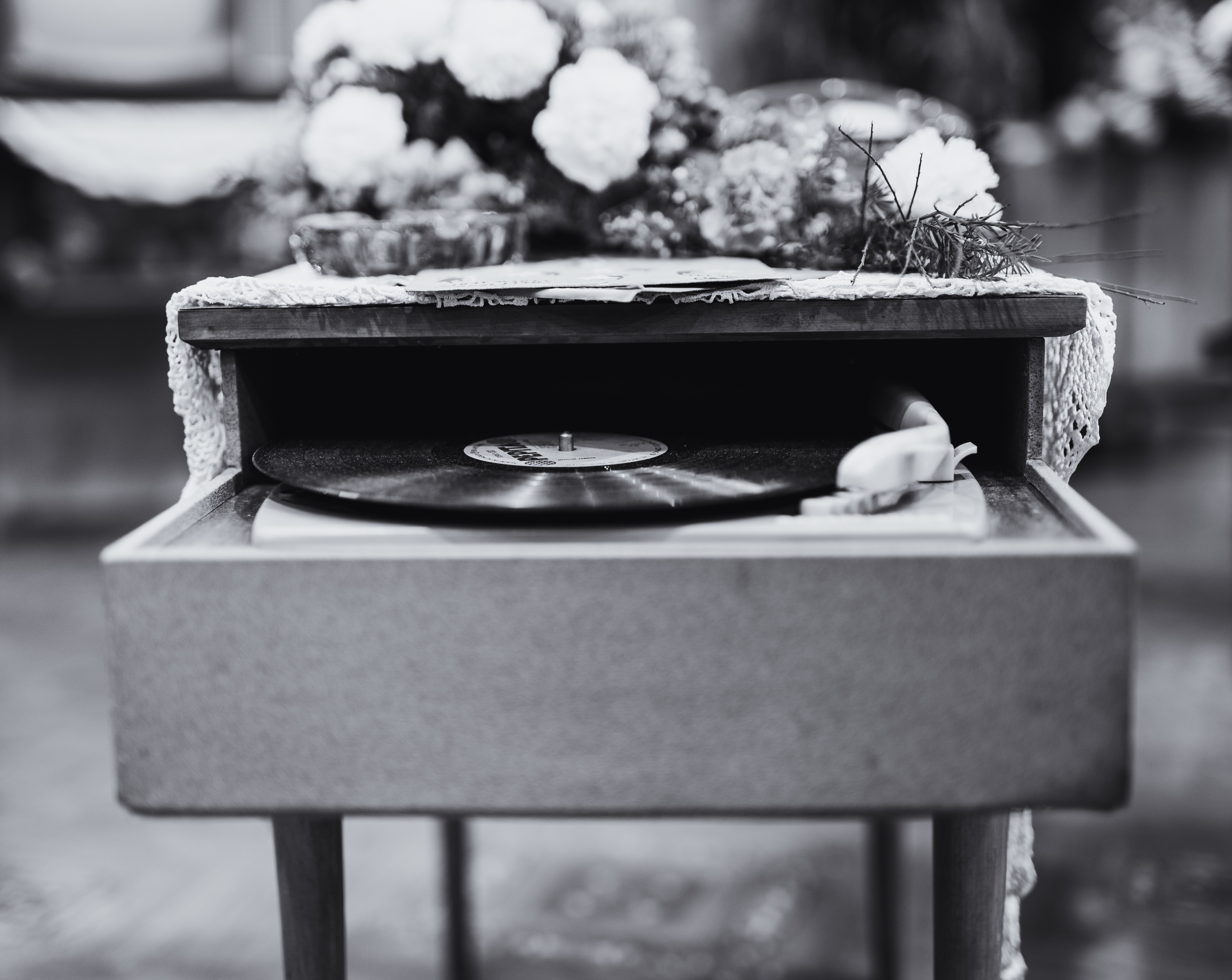 Grayscale Photo Of Vinyl Record Album Playing In Turntable, Black and white, Black-and-white, Decoration, Disc, HQ Photo