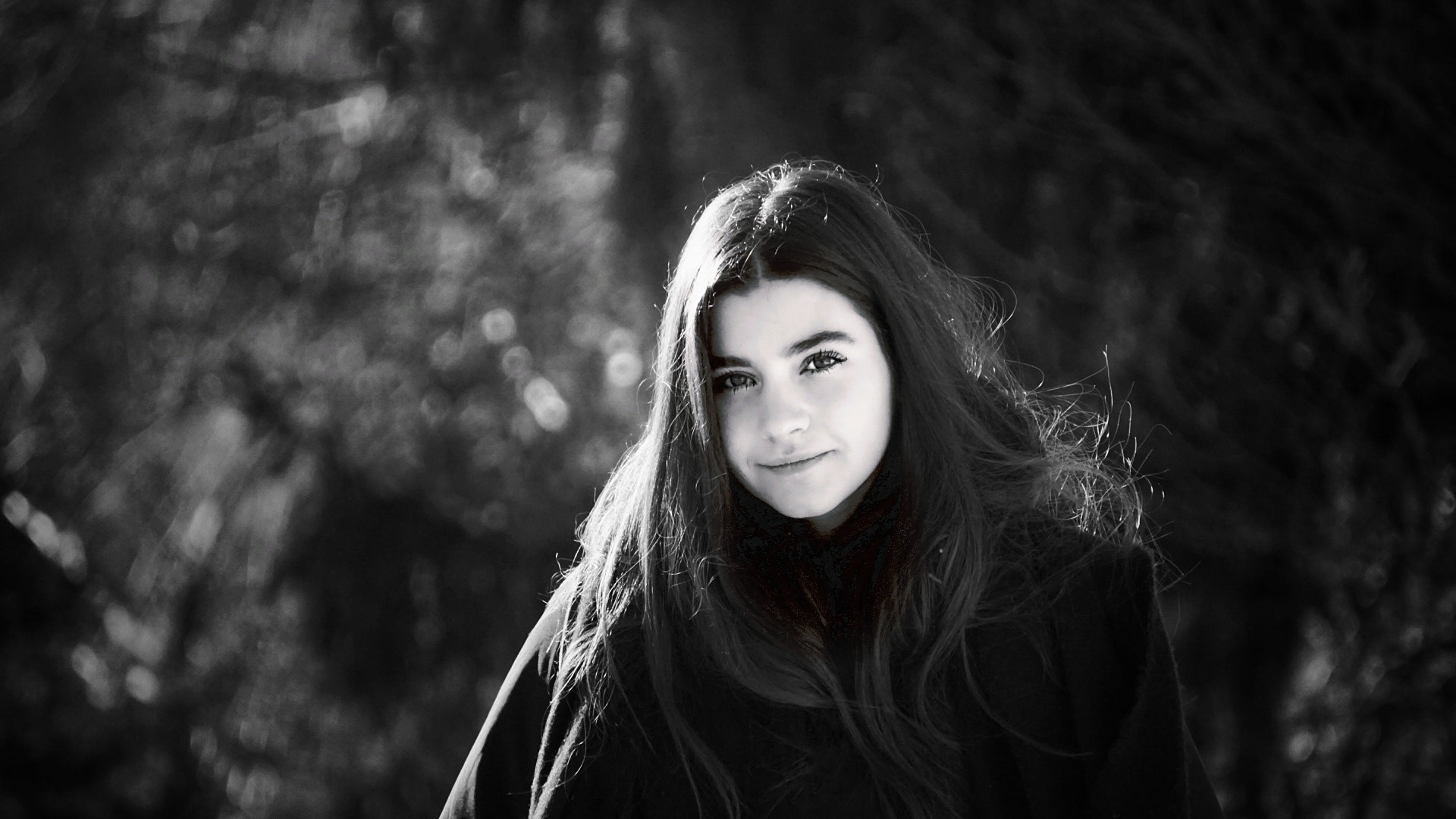 Grayscale Photo of Woman Wearing Coat Surrounded With Trees, Lady, Young, Woman, Skin, HQ Photo