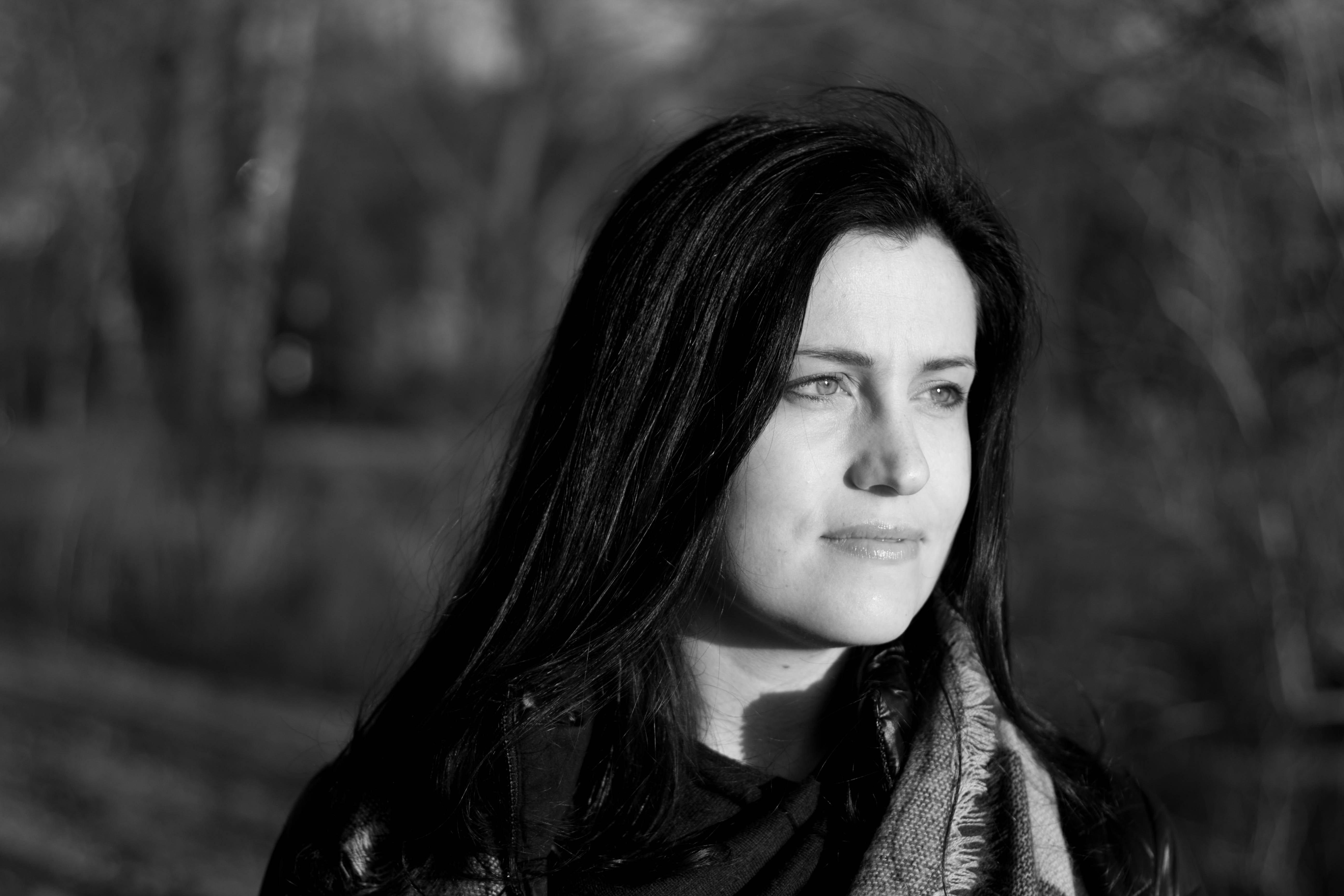 Grayscale Photo of Woman Wearing Scarf, Black-and-white, Dark hair, Female, Girl, HQ Photo