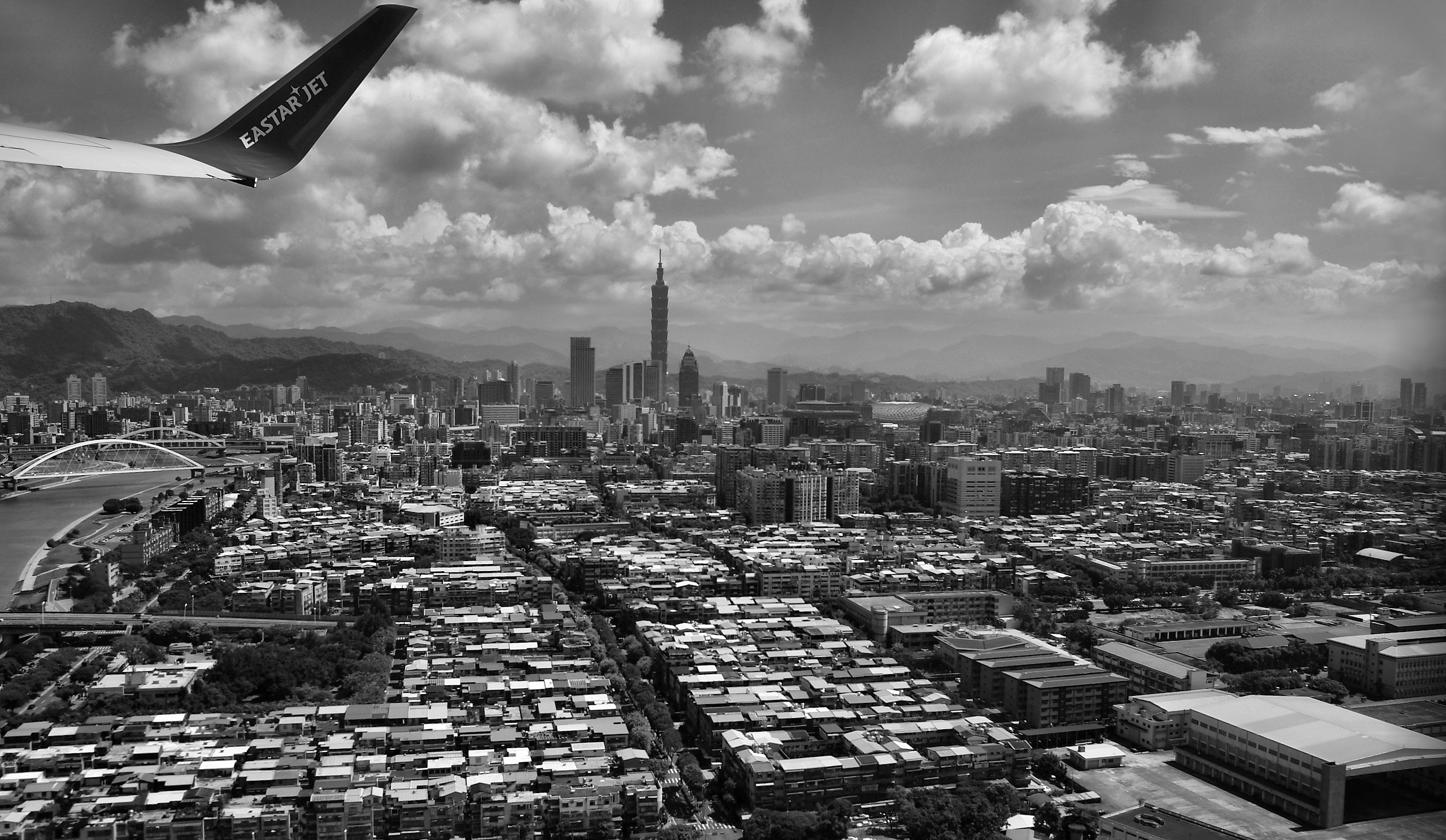 Grayscale Photography of Aerial View of City, Clouds, Travel, City, Buildings, HQ Photo