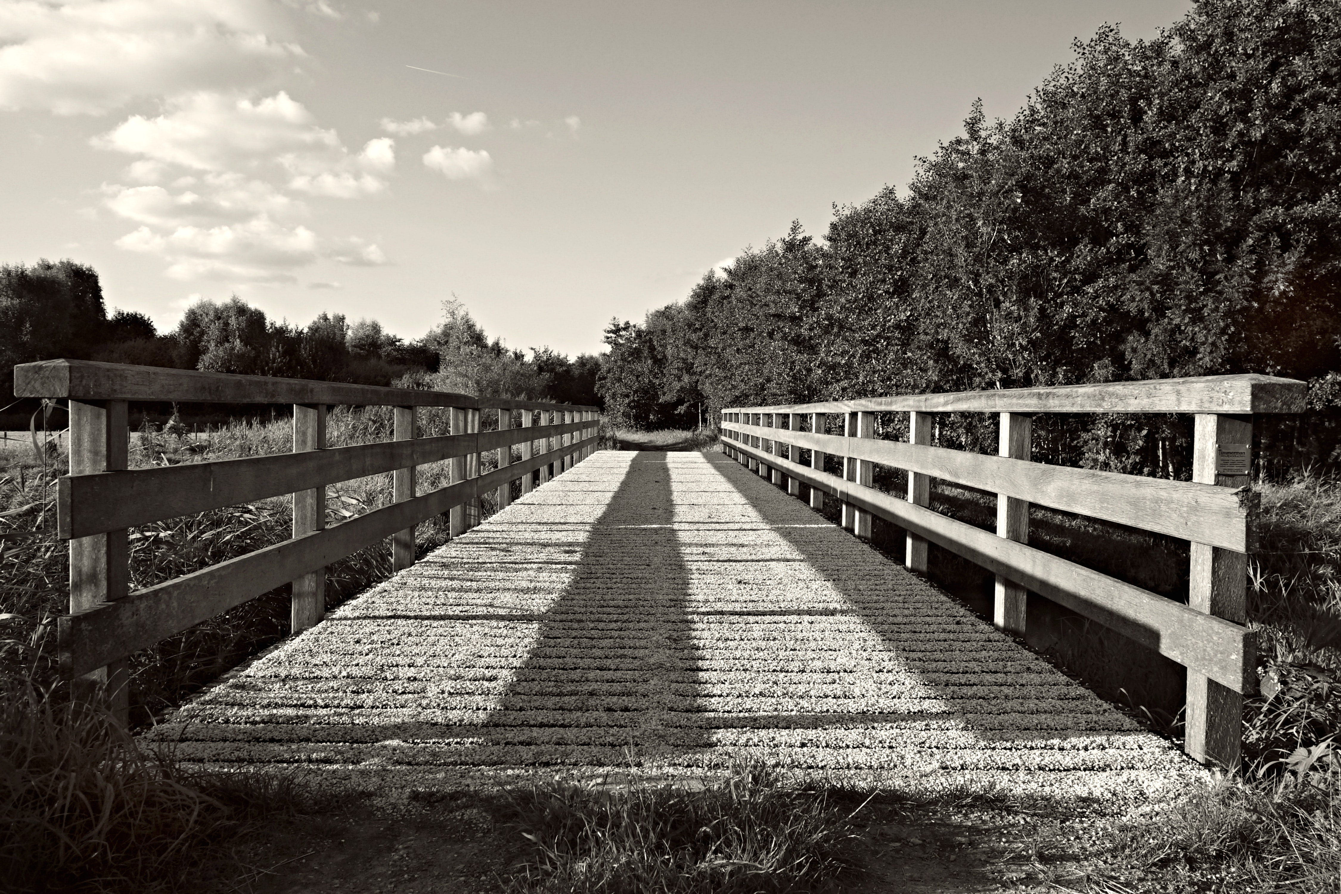 Grayscale Photography of Bridge, Black-and-white, Outdoors, Wooden bridge, Wooden, HQ Photo