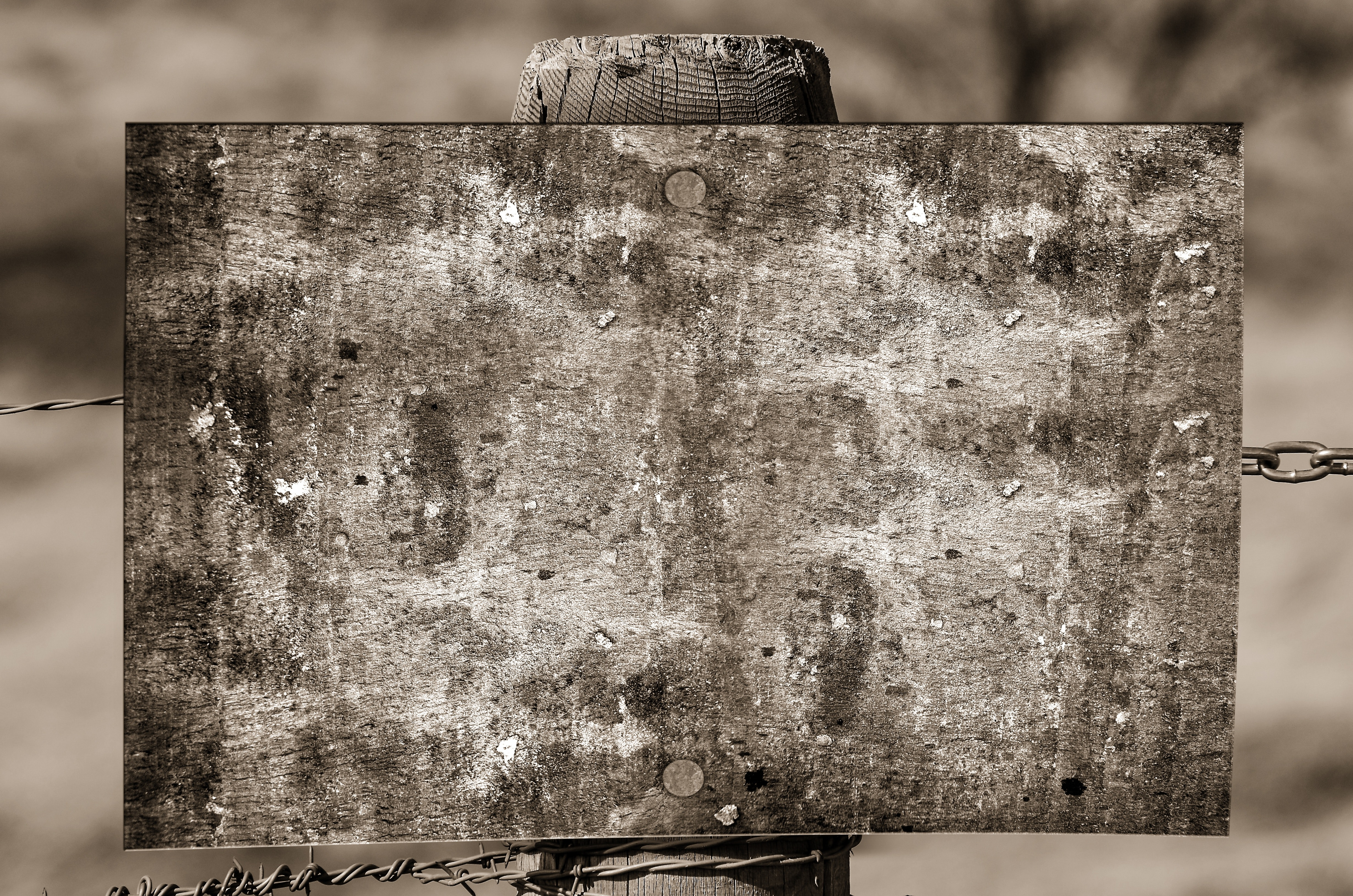 Grayscale photography of brown wooden board on fence