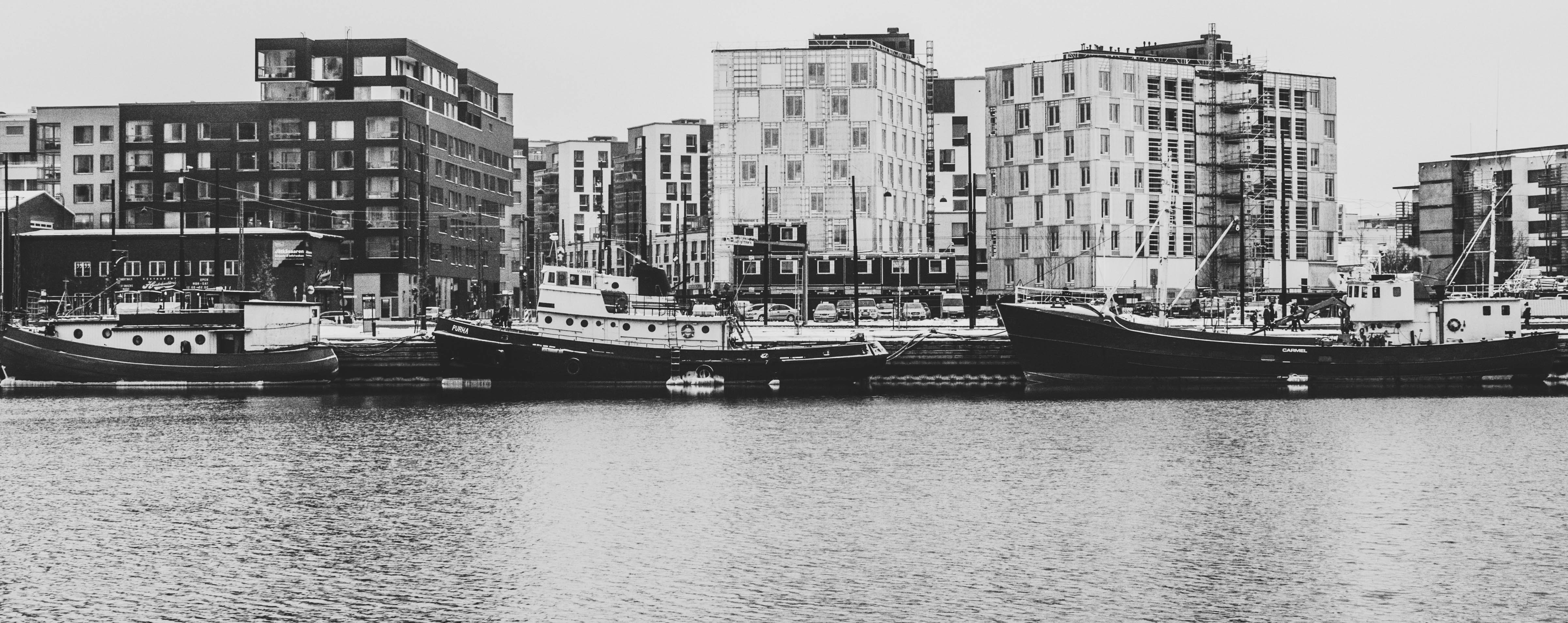 Grayscale Photography Of Buildings And River, Architecture, River, Watercrafts, Water, HQ Photo