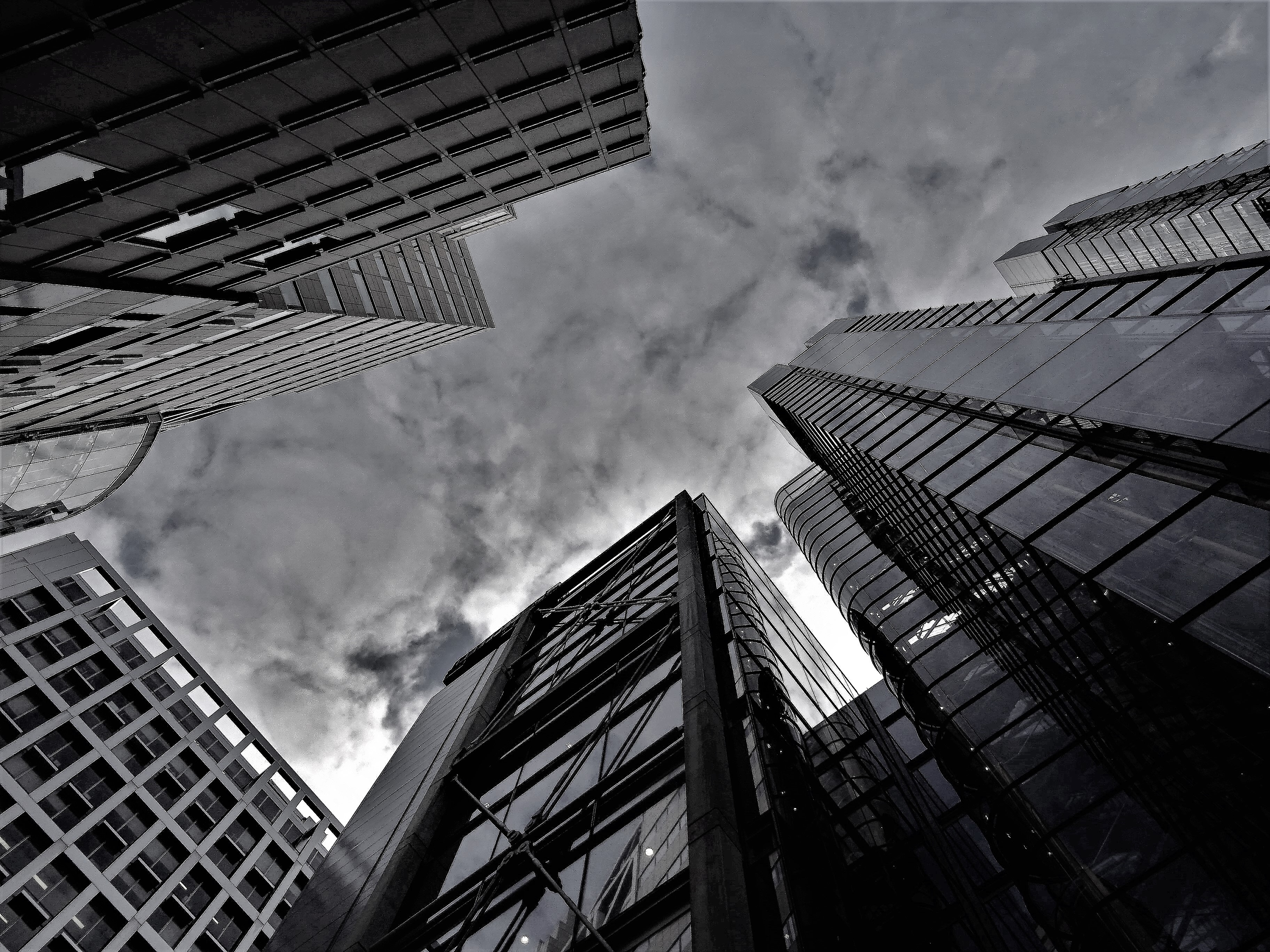Grayscale Photography of Buildings, Architectural design, Low angle shot, Urban, Tall, HQ Photo