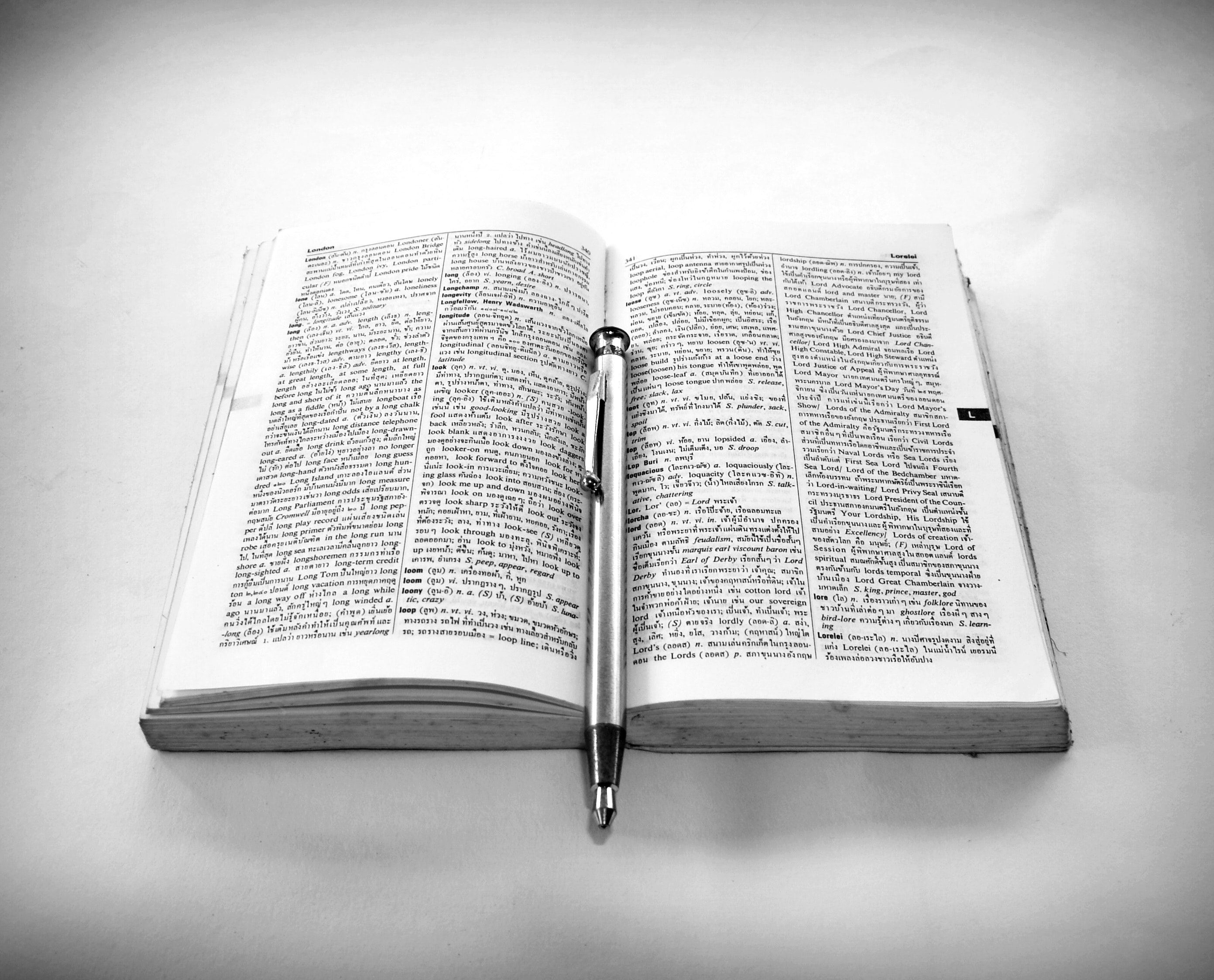 Grayscale Photography of Click Pen on Top of Opened Book, Ballpen, Bible, Black-and-white, Book, HQ Photo