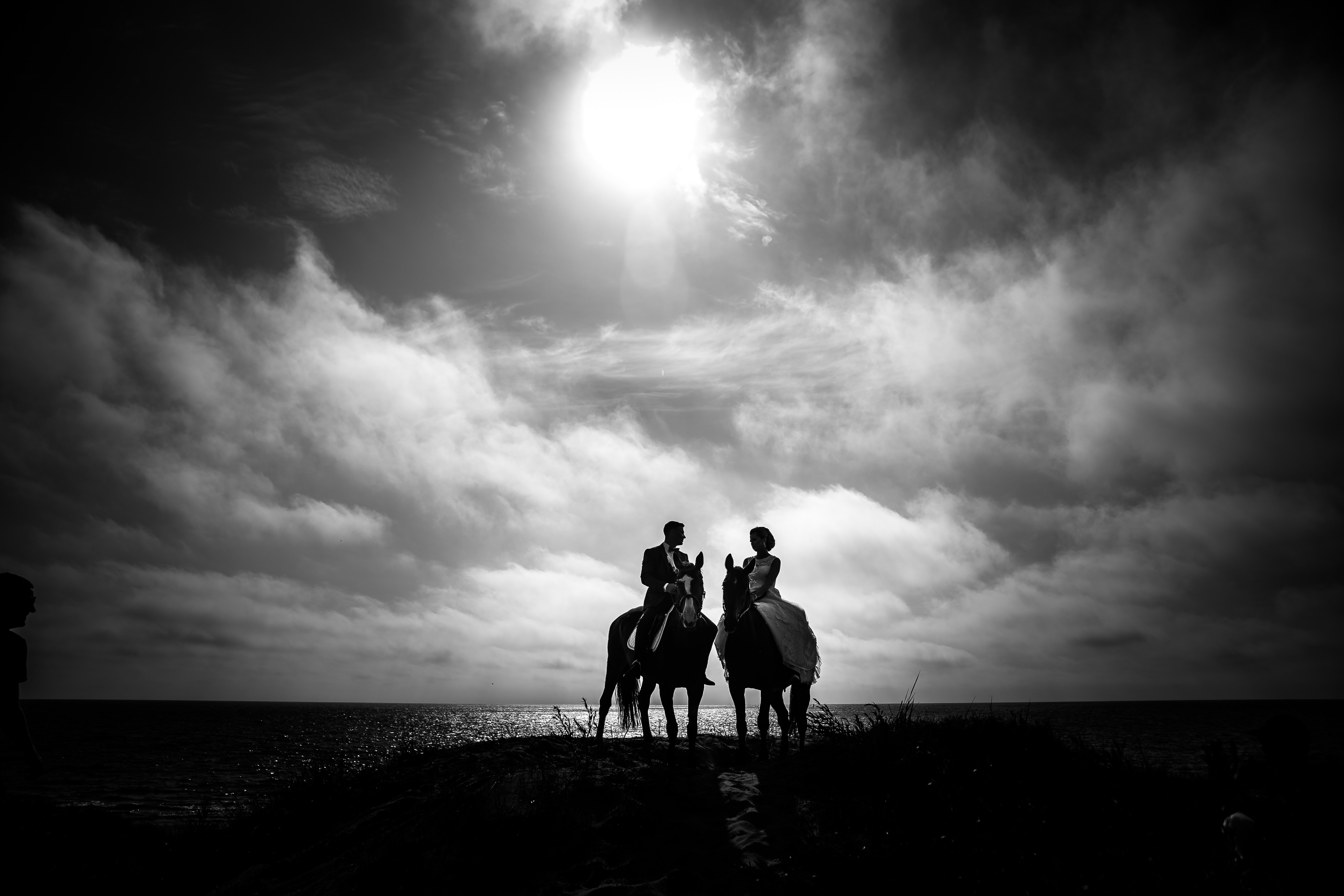 Free Photo Grayscale Photography Of Couple Riding On Horse With Body Of Water And Sky As Background Ocean Water Sunset Free Download Jooinn