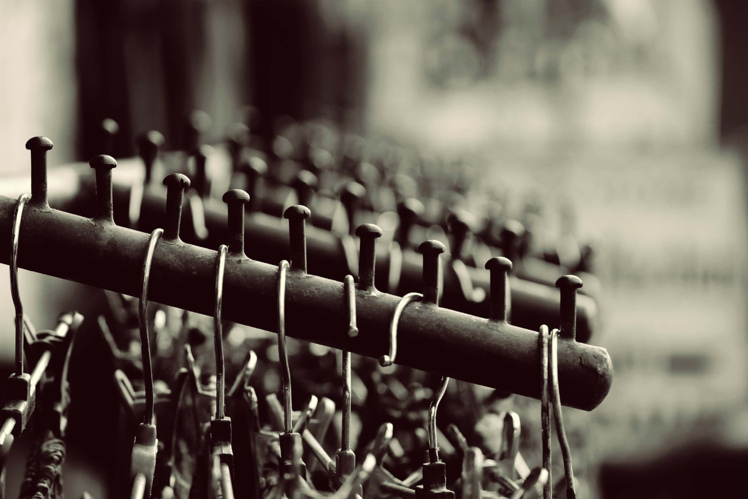 Grayscale Photography of Hangers on Rack, Rack, Steel, Outdoors, Metal, HQ Photo