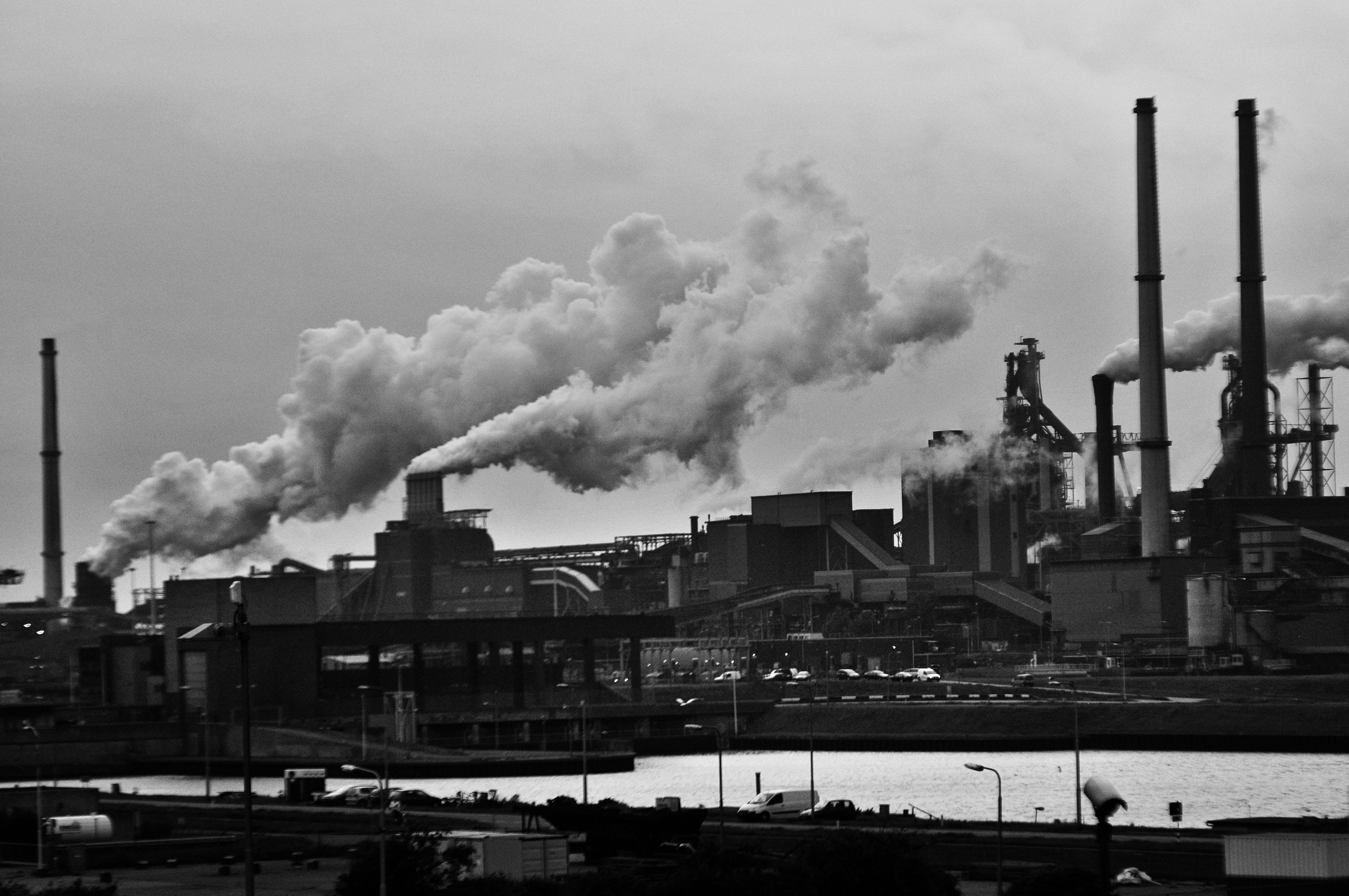 Grayscale Photography of Locomotive Train Beside Factory, Air pollution, Pipes, Technology, Smoke, HQ Photo