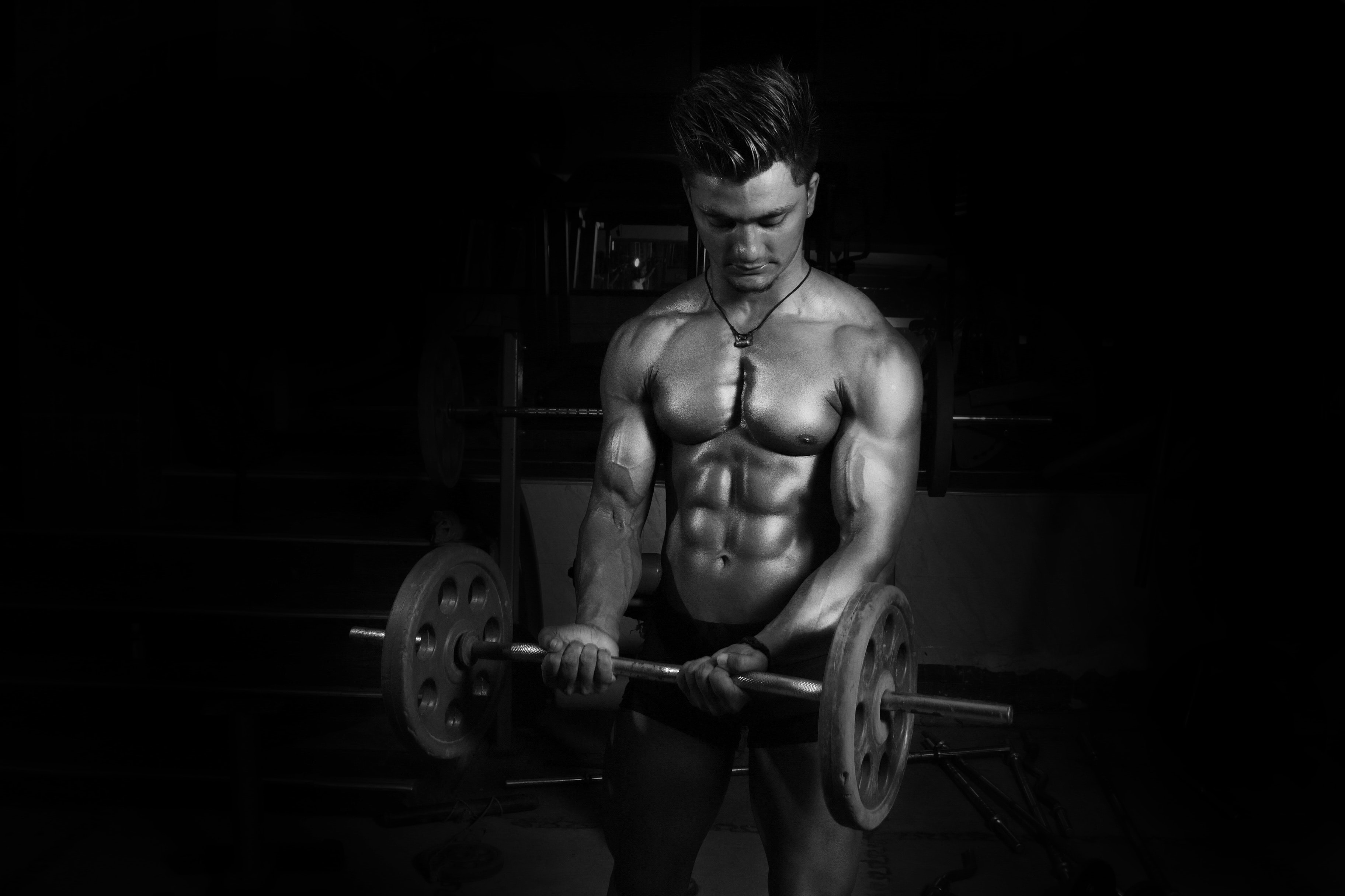 Grayscale Photography of Man Carrying Barbell, Athlete, Human, Weights, Weightlifting, HQ Photo