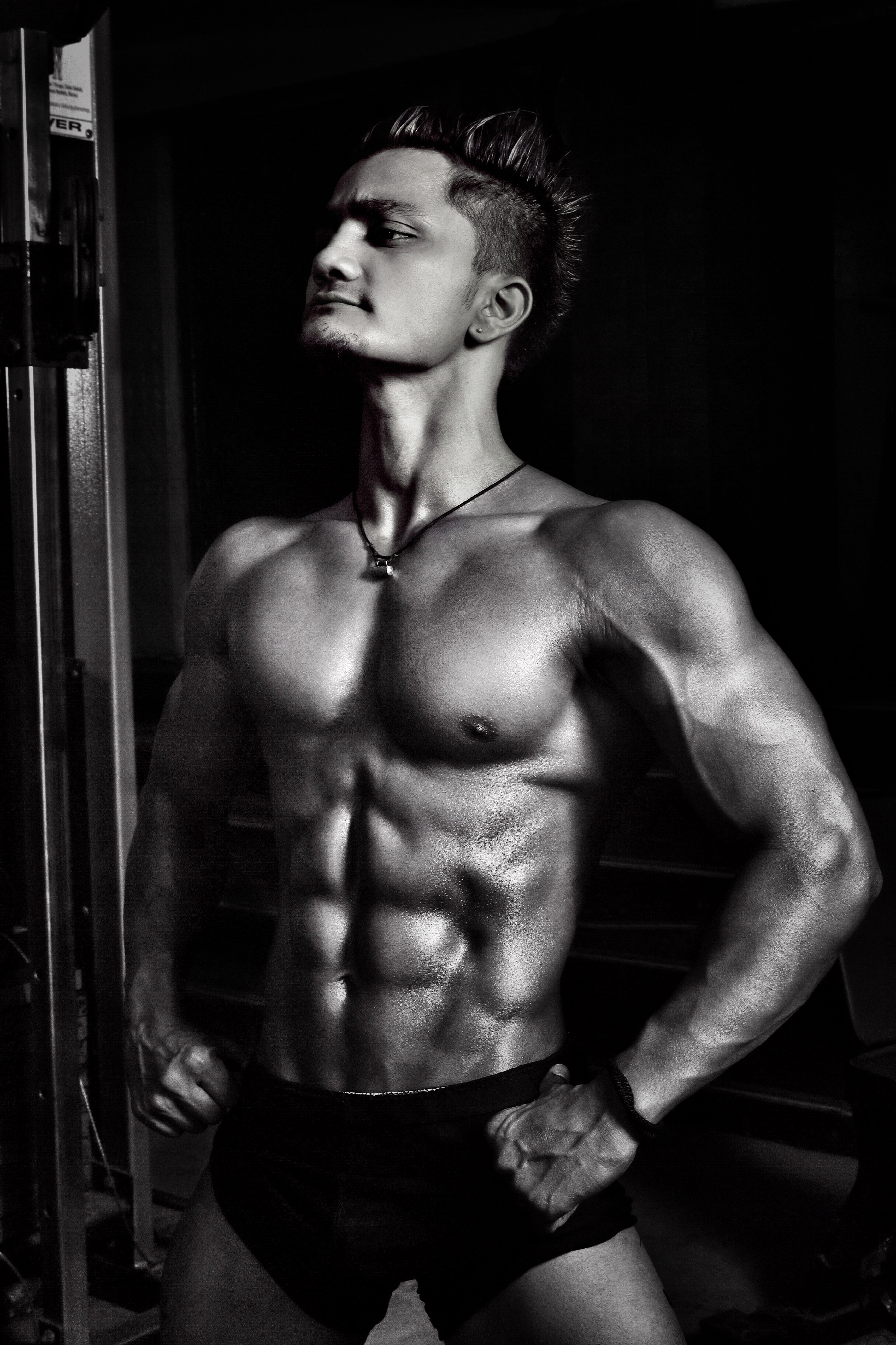 Grayscale Photography of Man in Short Standiung, Athlete, Strong, Strength, Shirtless, HQ Photo