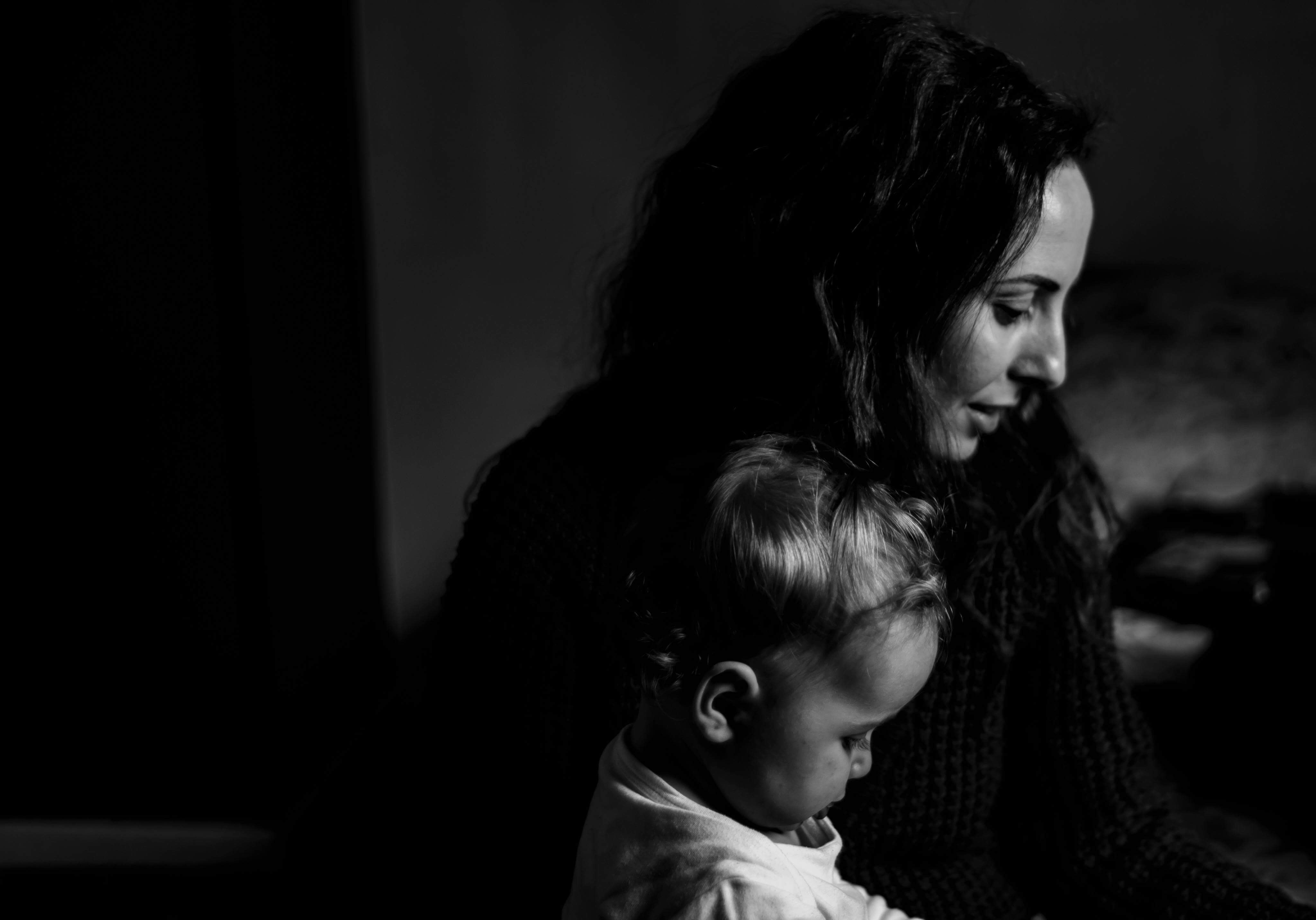 Grayscale Photography of Mother and Child, Mother, Young, Woman, Wear, HQ Photo