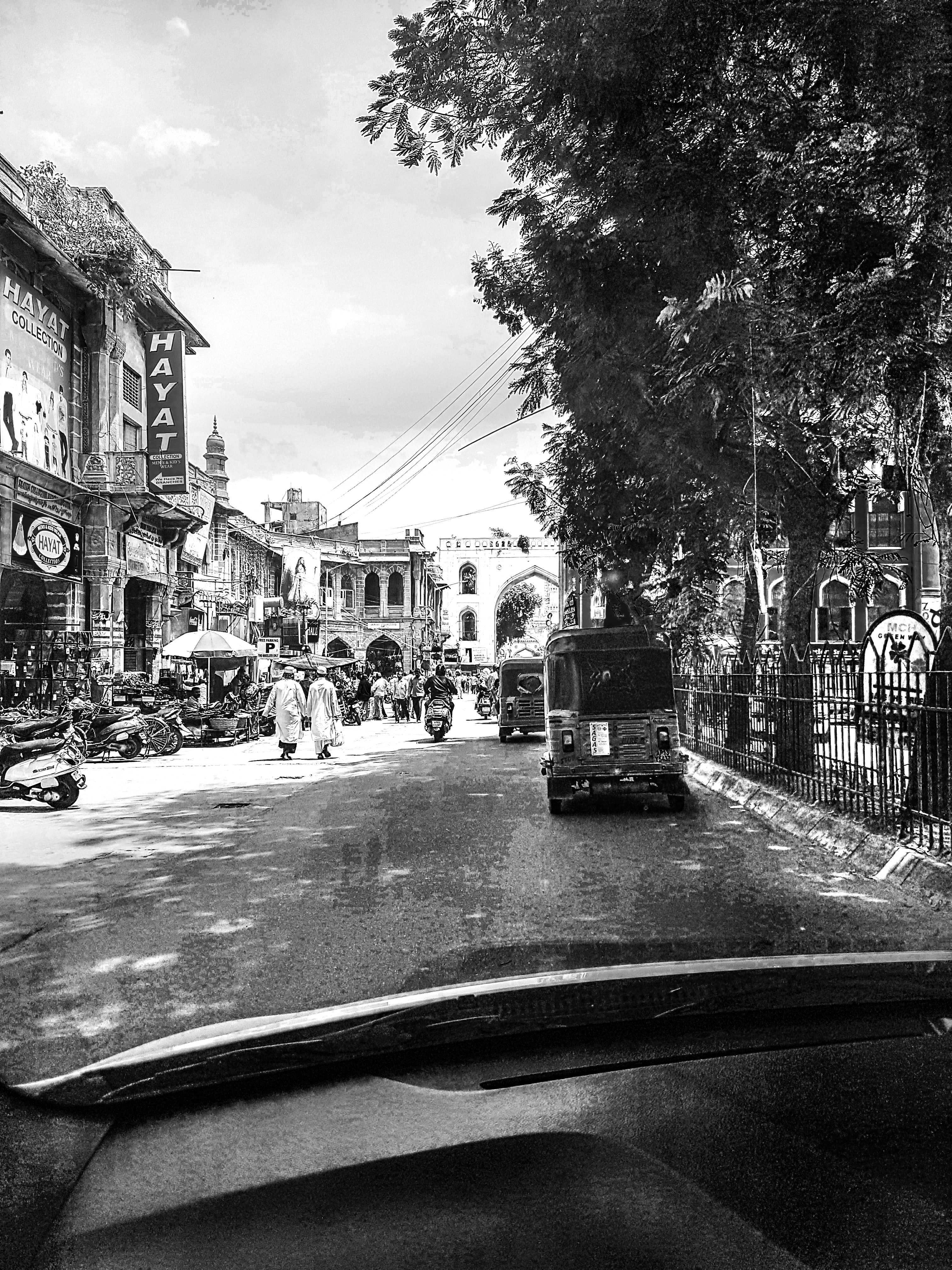 Grayscale Photography of People Walking Near Buildings, Adult, Scooter, Urban, Trees, HQ Photo