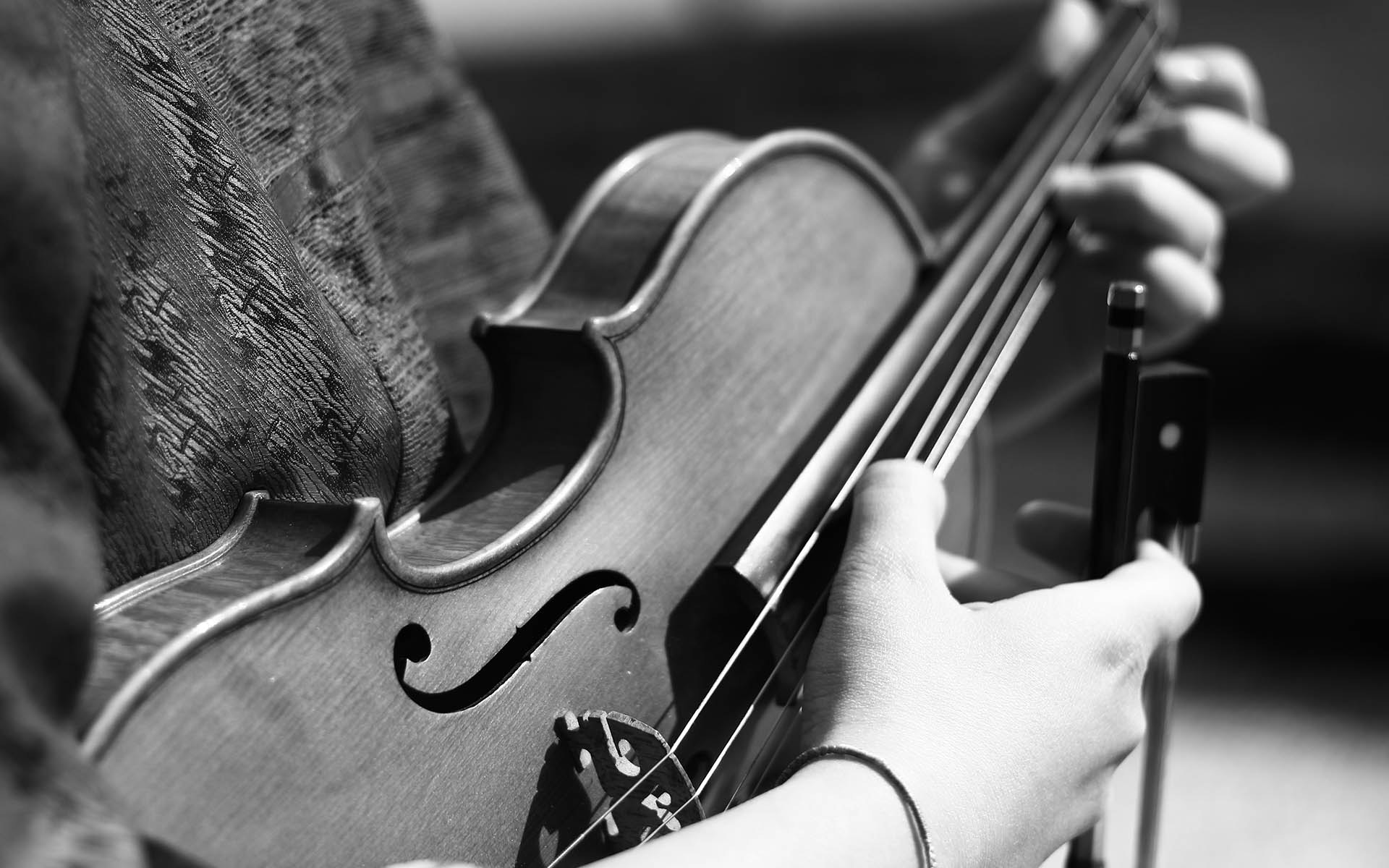 Grayscale Photography Of Person Playing Violin String Instrument Musician