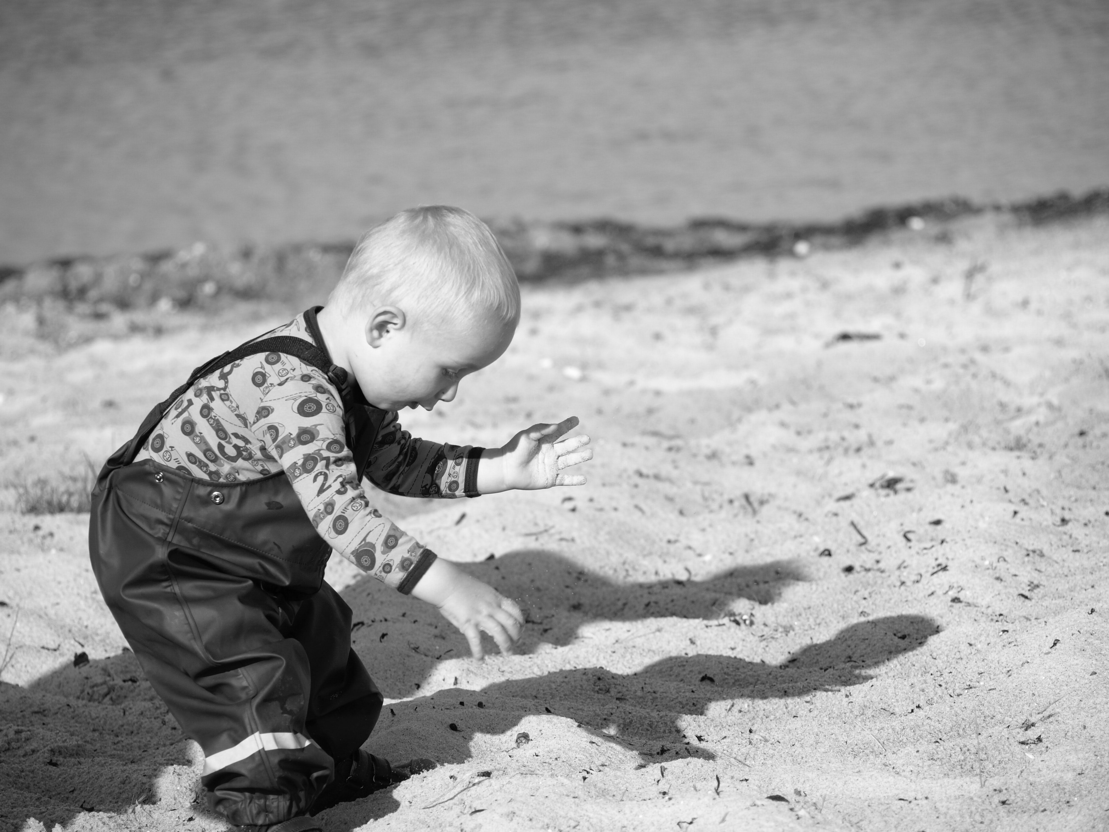 Grayscale Photography Of Toddler On Beach Sand, Person, Young, Water, Toddler, HQ Photo