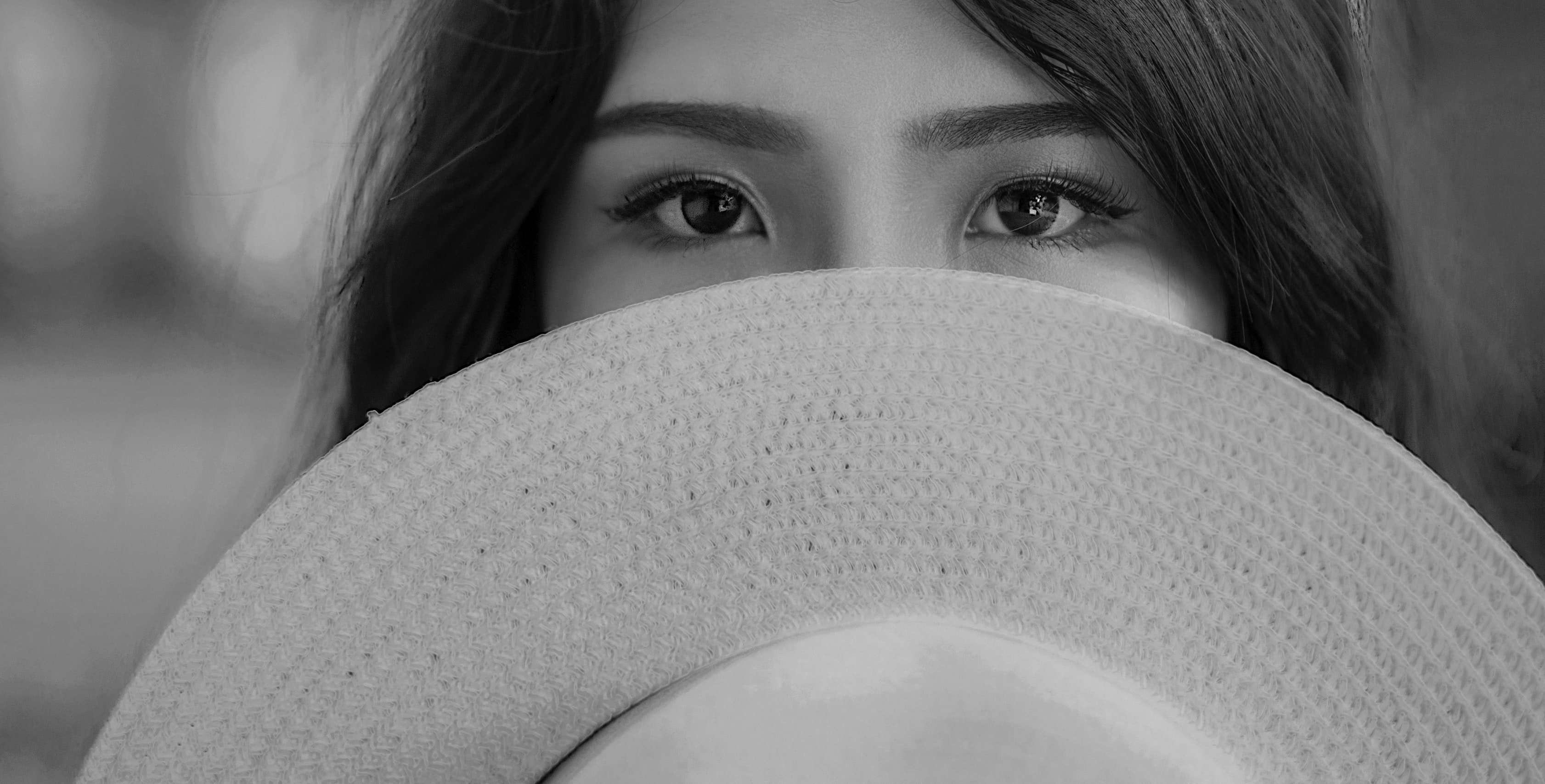 Grayscale Photography of Woman Covering Her Face With Sun Hat, Black-and-white, Blur, Close-up, Eyes, HQ Photo