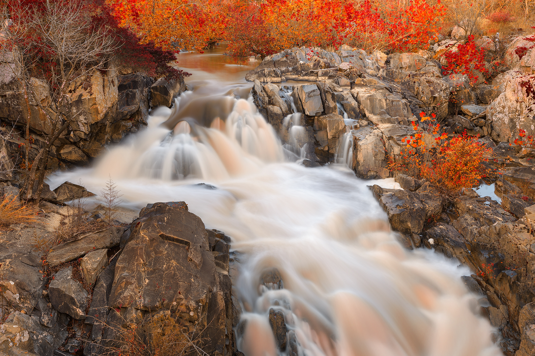 Great falls autumn cascades - amber ruby hdr photo