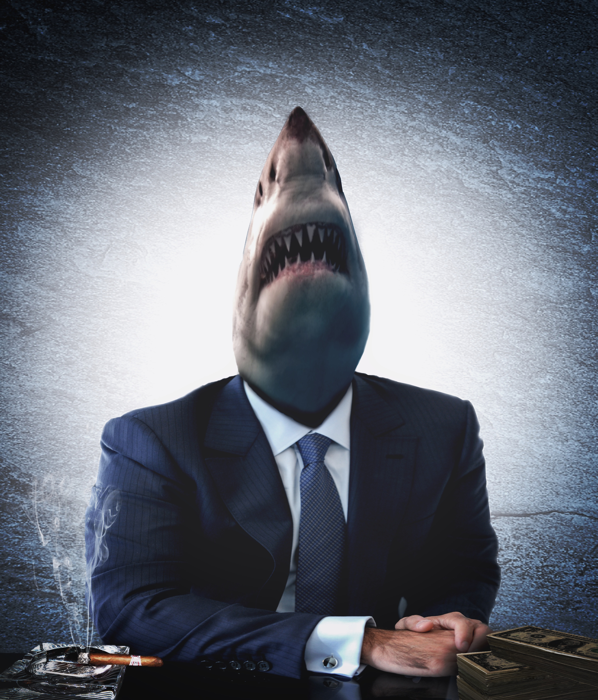 Greedy businessman as a shark photo