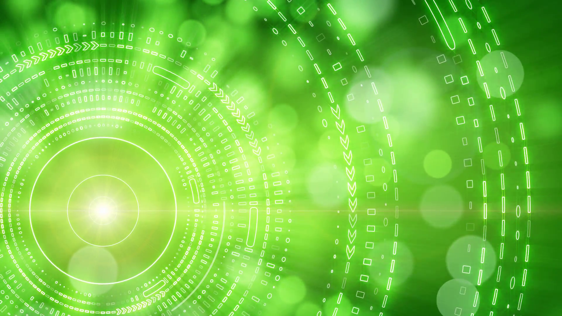 green abstract background lights and tech circles loop Motion ...